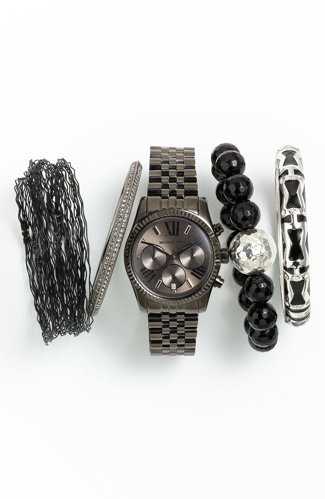 Stretch Bracelet,                             Alternate thumbnail 3, color,                             SILVER/ BLACK ONYX