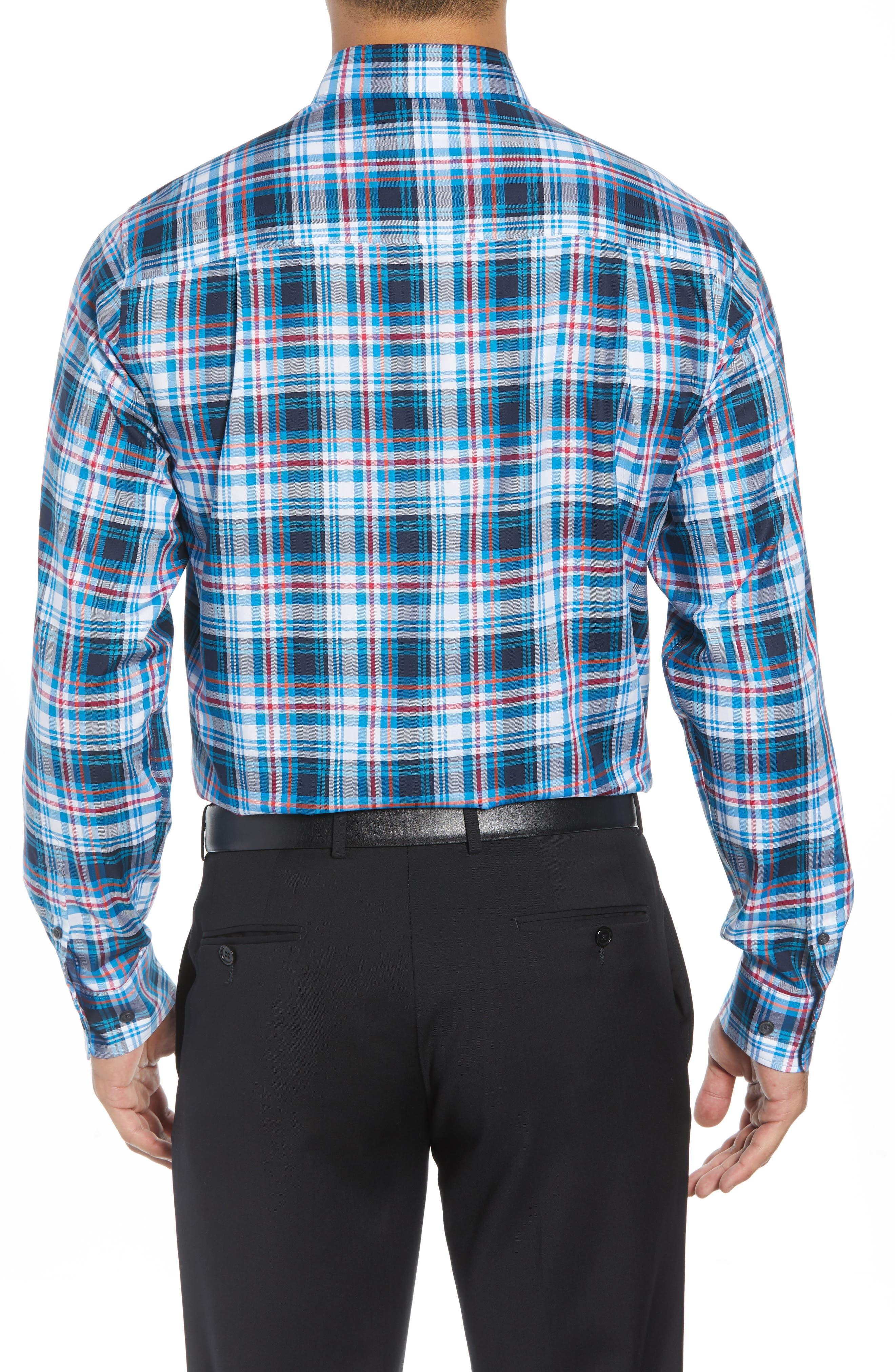 Brad Regular Fit Non-Iron Plaid Sport Shirt,                             Alternate thumbnail 3, color,                             LIBERTY NAVY