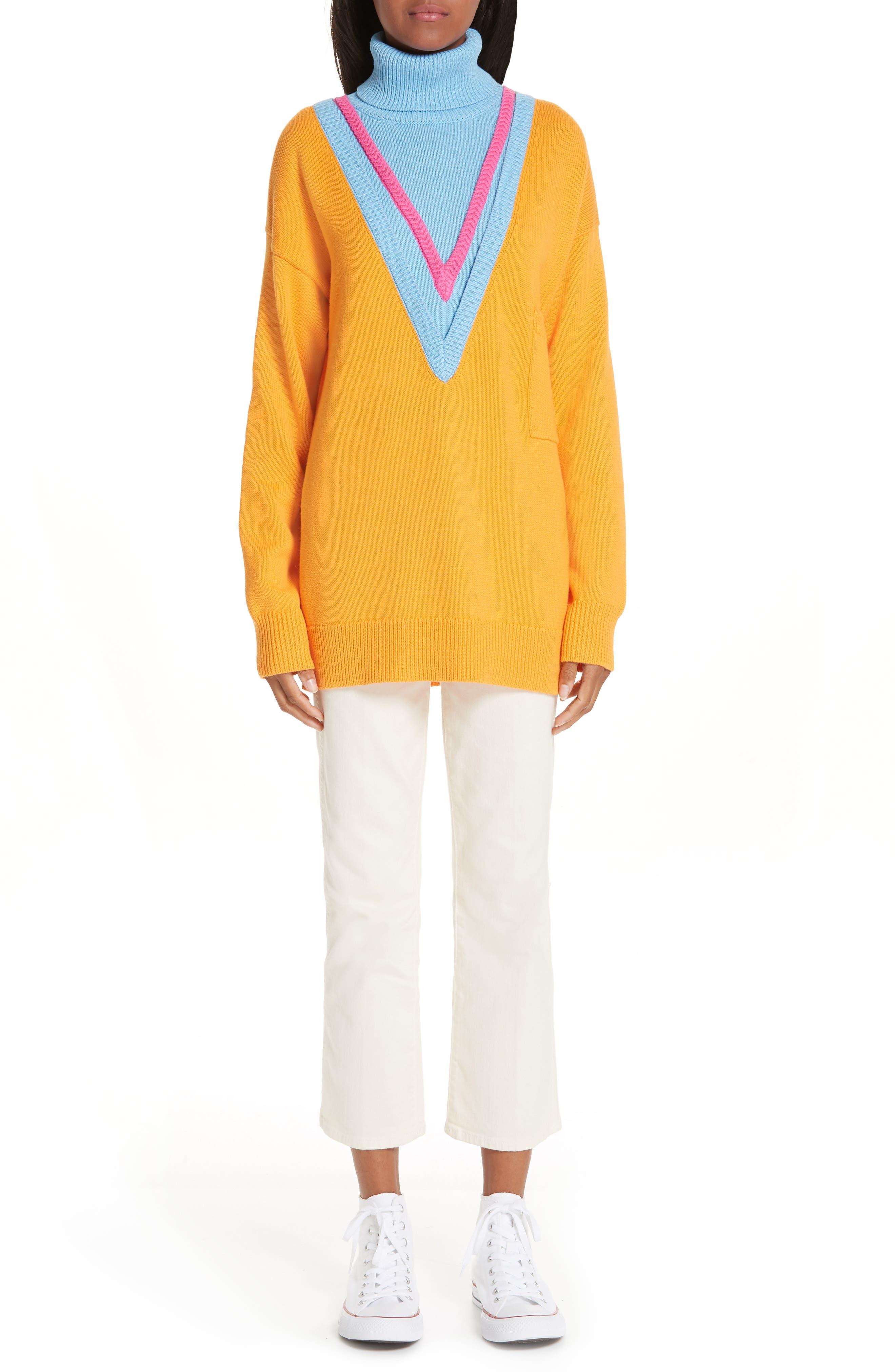 VICTOR GLEMAUD,                             Layered Cotton & Cashmere Turtleneck Sweater,                             Alternate thumbnail 7, color,                             ORANGE COMBO