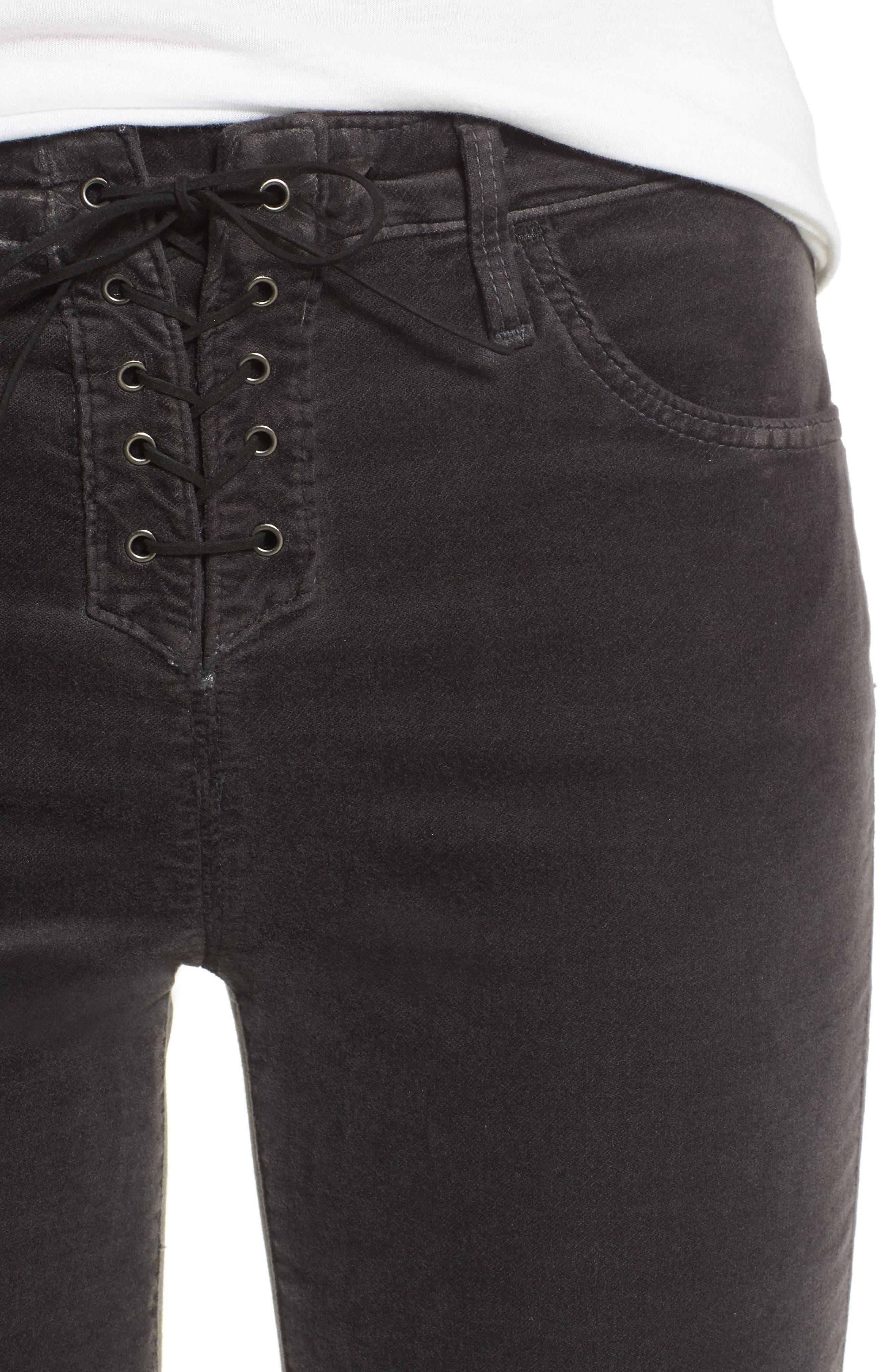 Jodi Lace-Up Crop Jeans,                             Alternate thumbnail 4, color,                             003