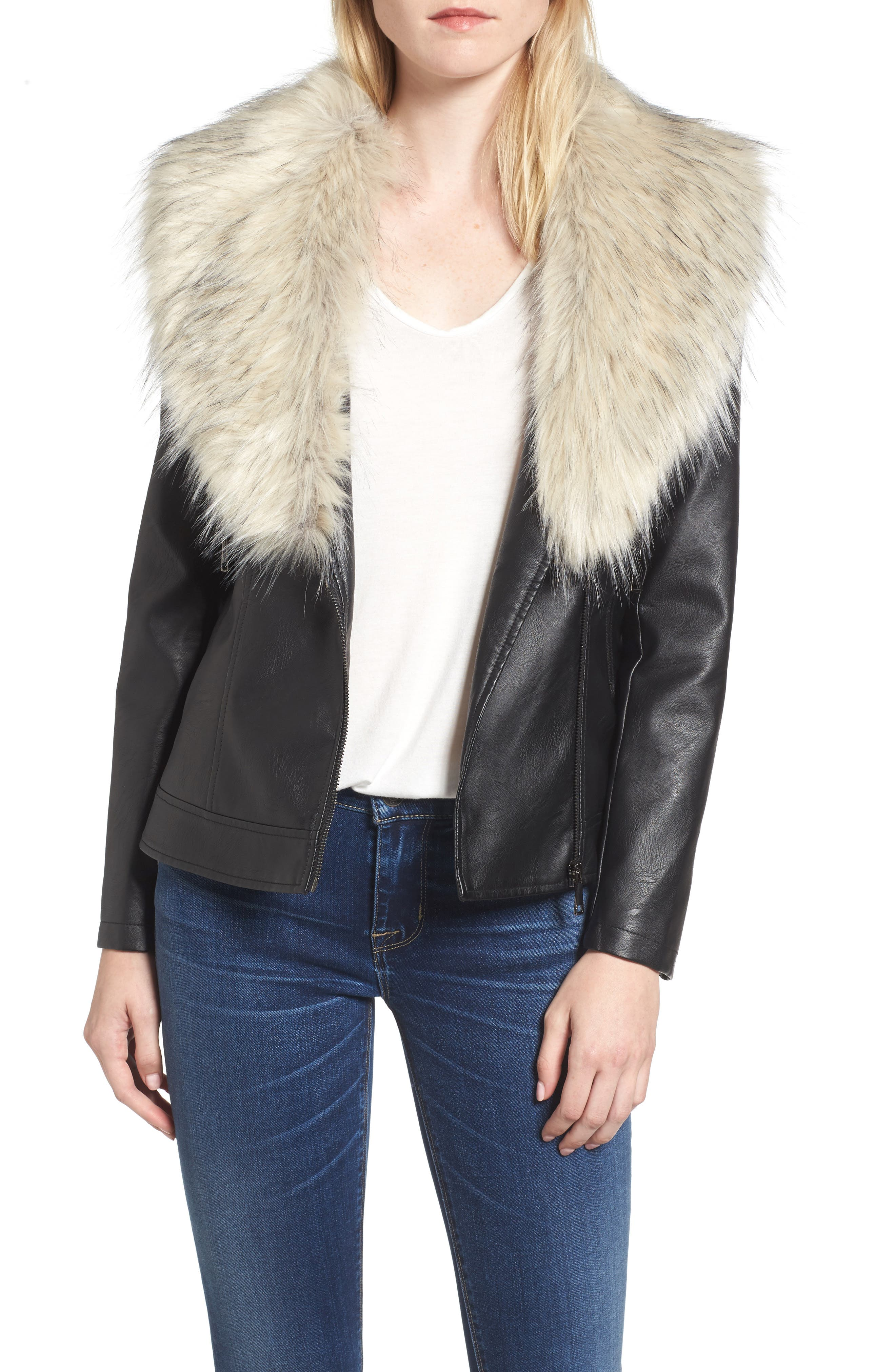 Faux Leather Jacket with Removable Faux Fur Collar,                         Main,                         color,