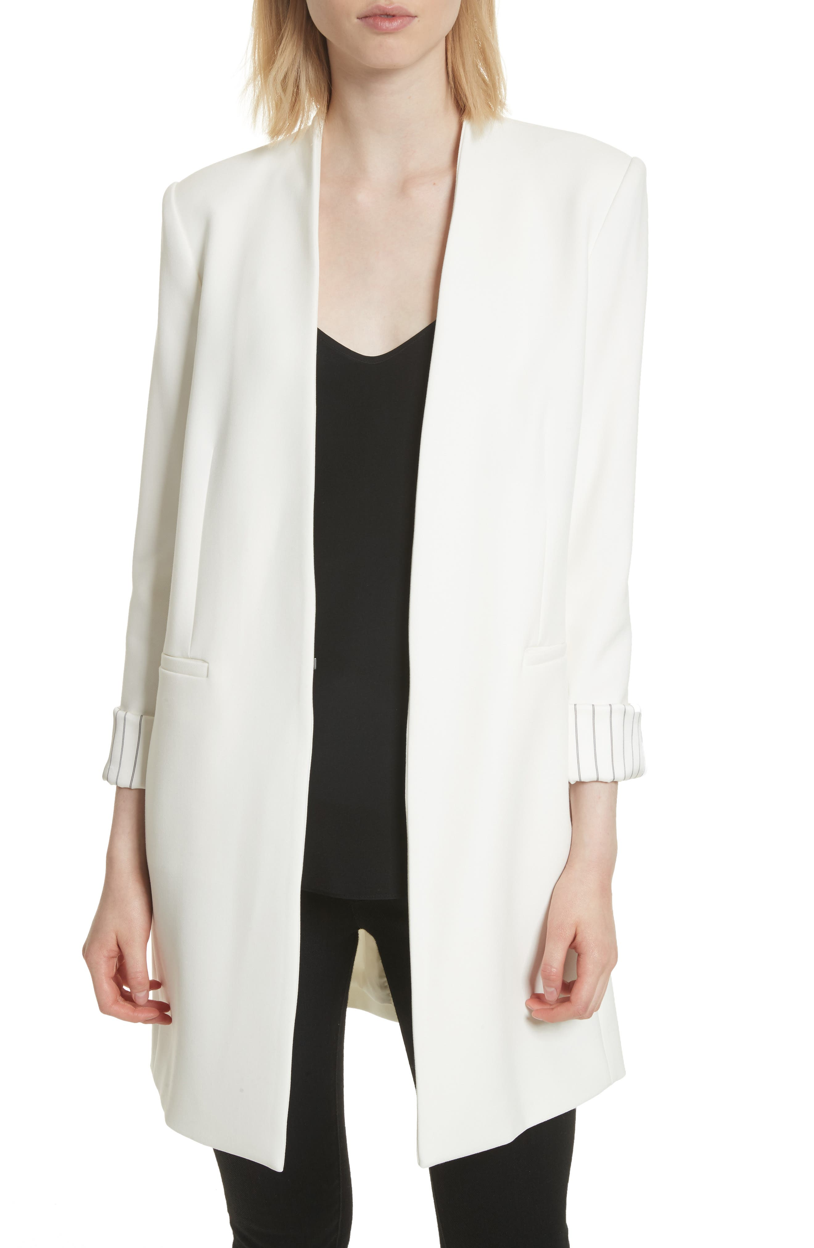 Simpson Roll Cuff Collarless Blazer,                         Main,                         color, 100