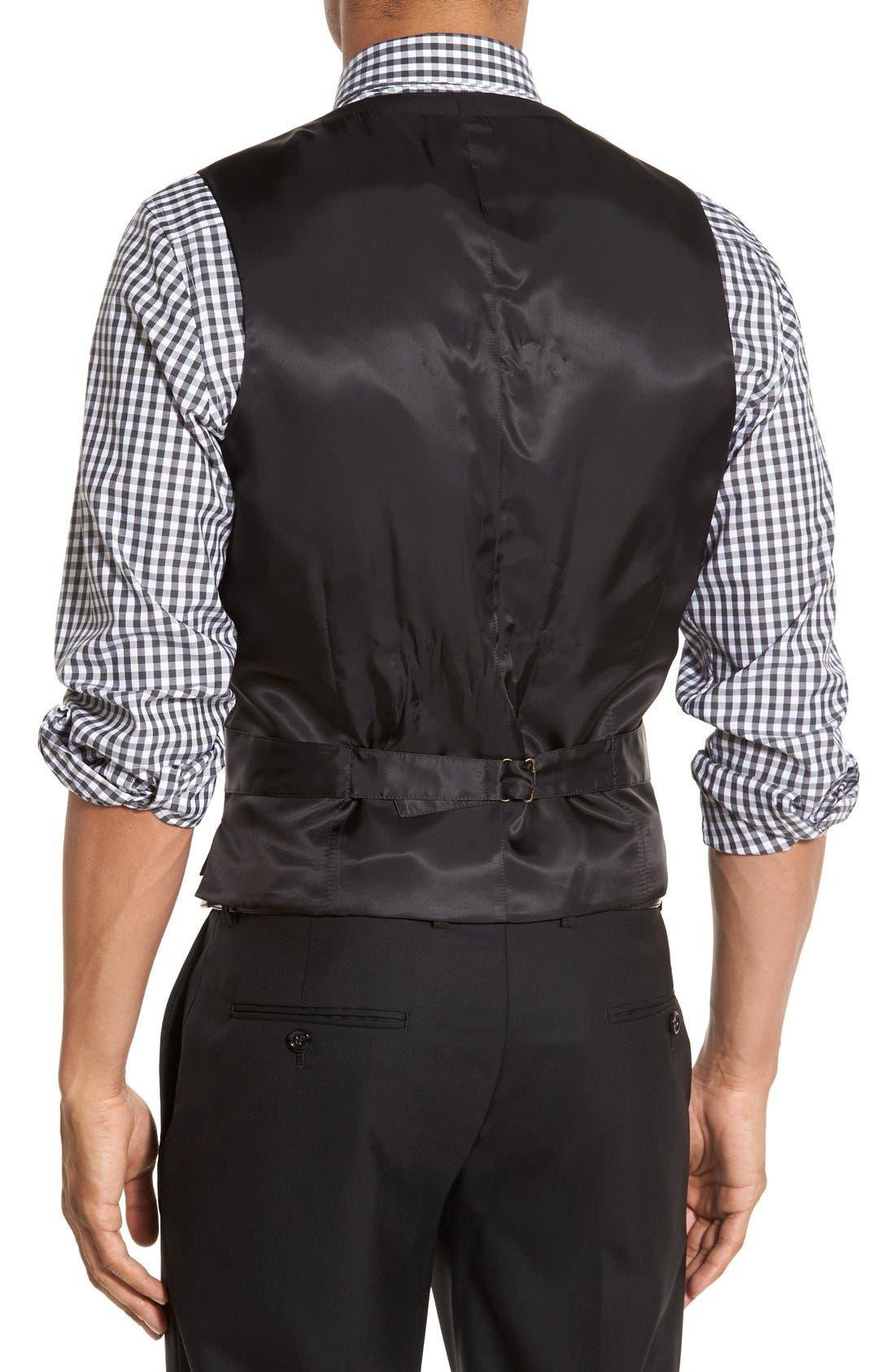 Ludlow Trim Fit Solid Wool Vest,                             Alternate thumbnail 6, color,                             001