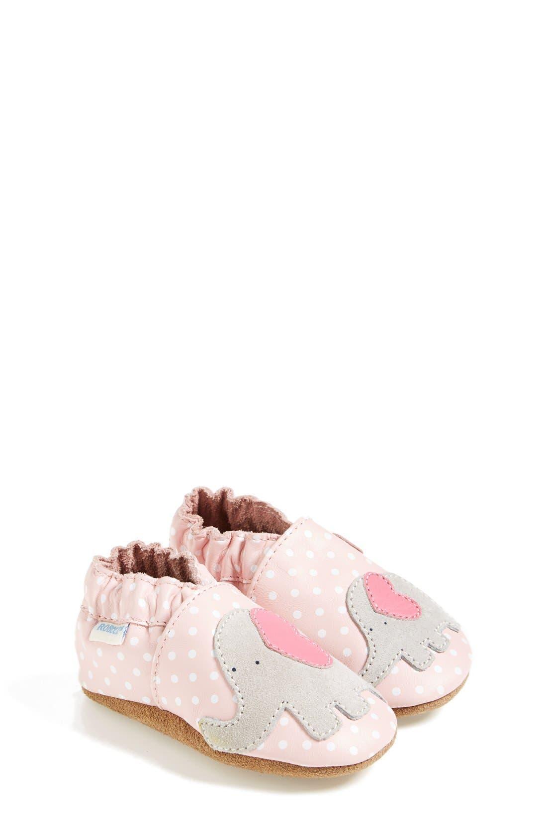 'Little Peanut' Crib Shoe,                             Main thumbnail 1, color,                             PASTEL PINK