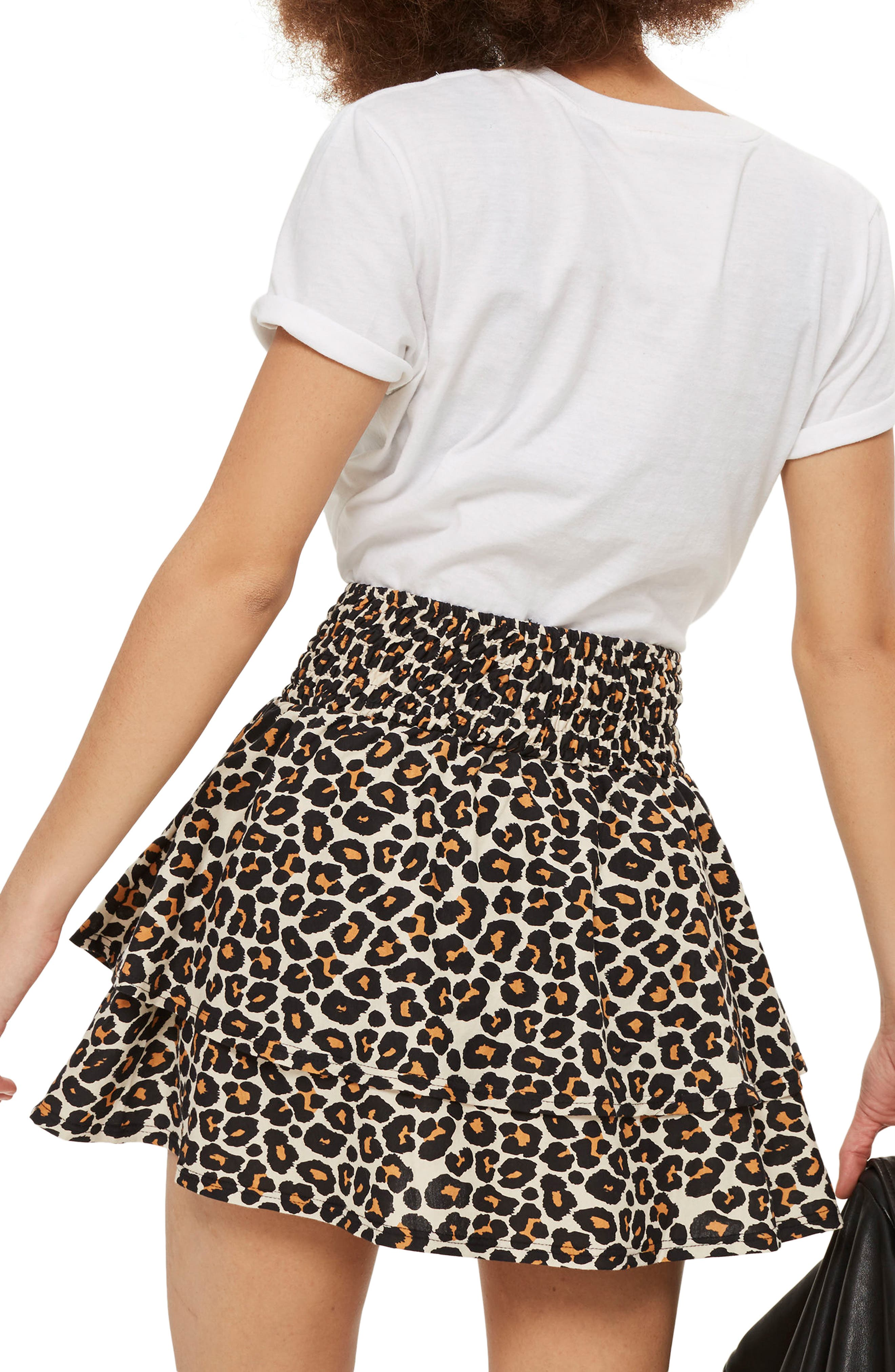 Tiered Leopard Skirt,                             Alternate thumbnail 2, color,