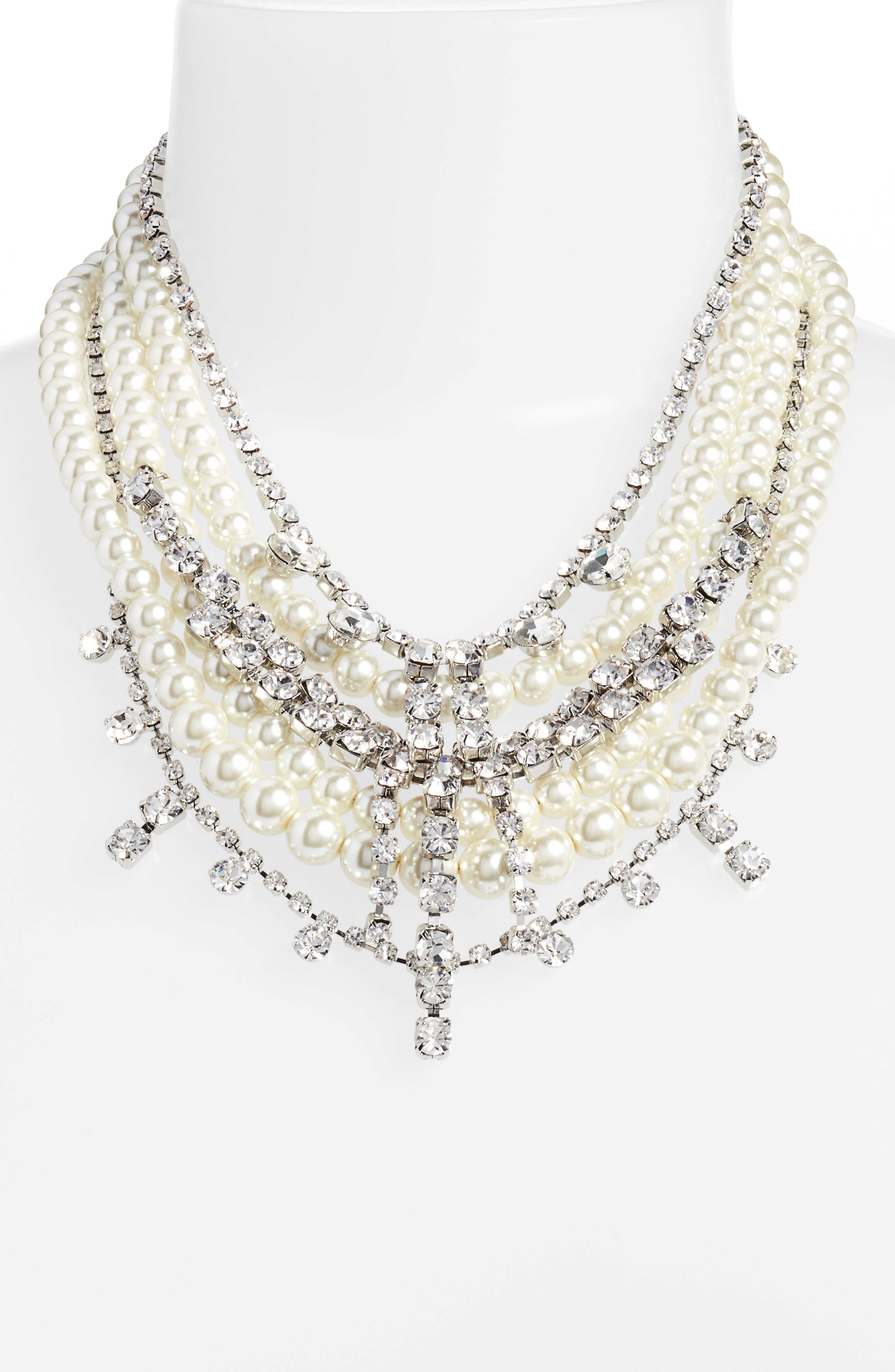 Crystal & Imitation Pearl Multistrand Necklace,                             Alternate thumbnail 2, color,                             SILVER