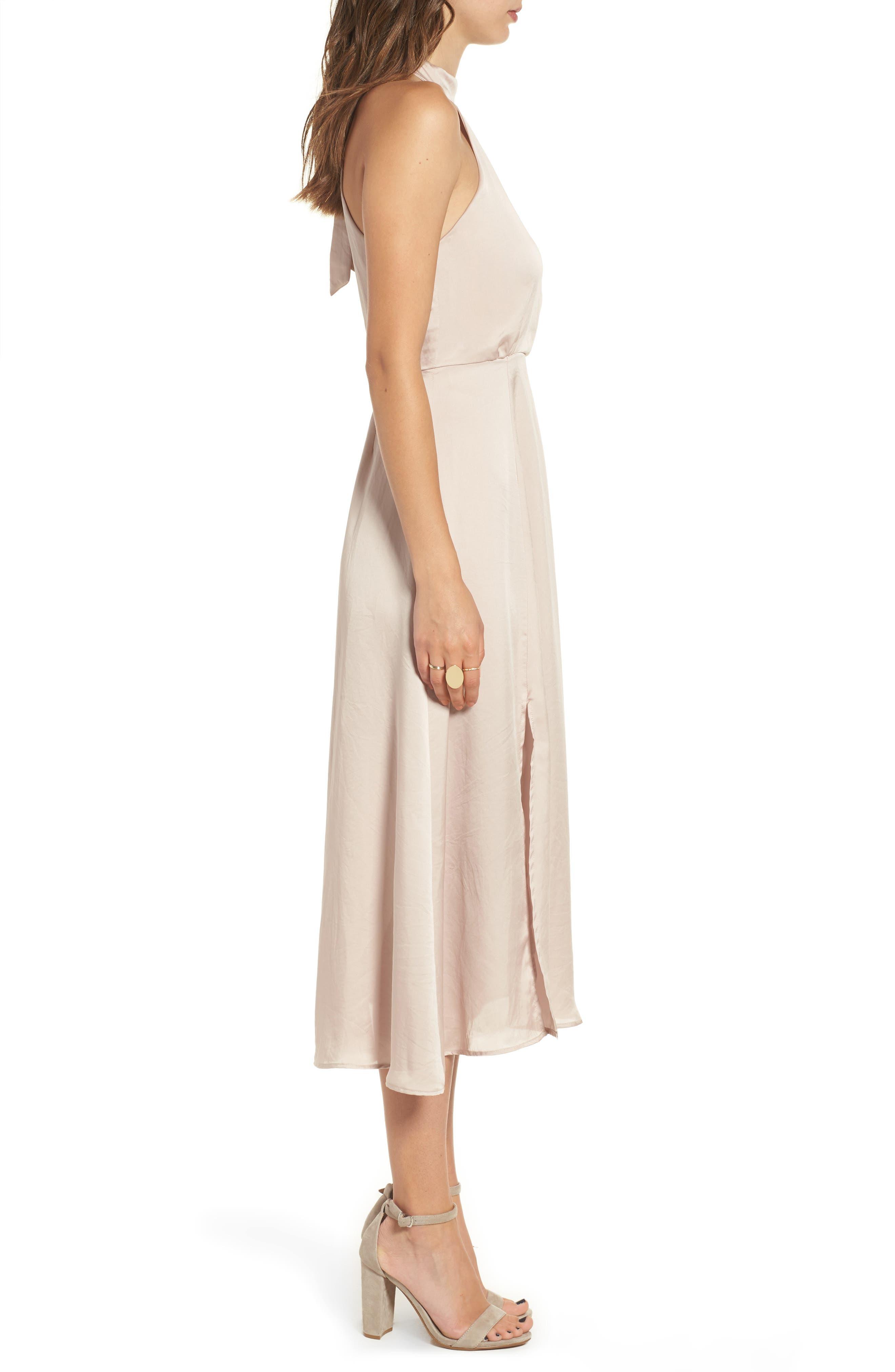 Satin Midi Dress,                             Alternate thumbnail 3, color,                             663