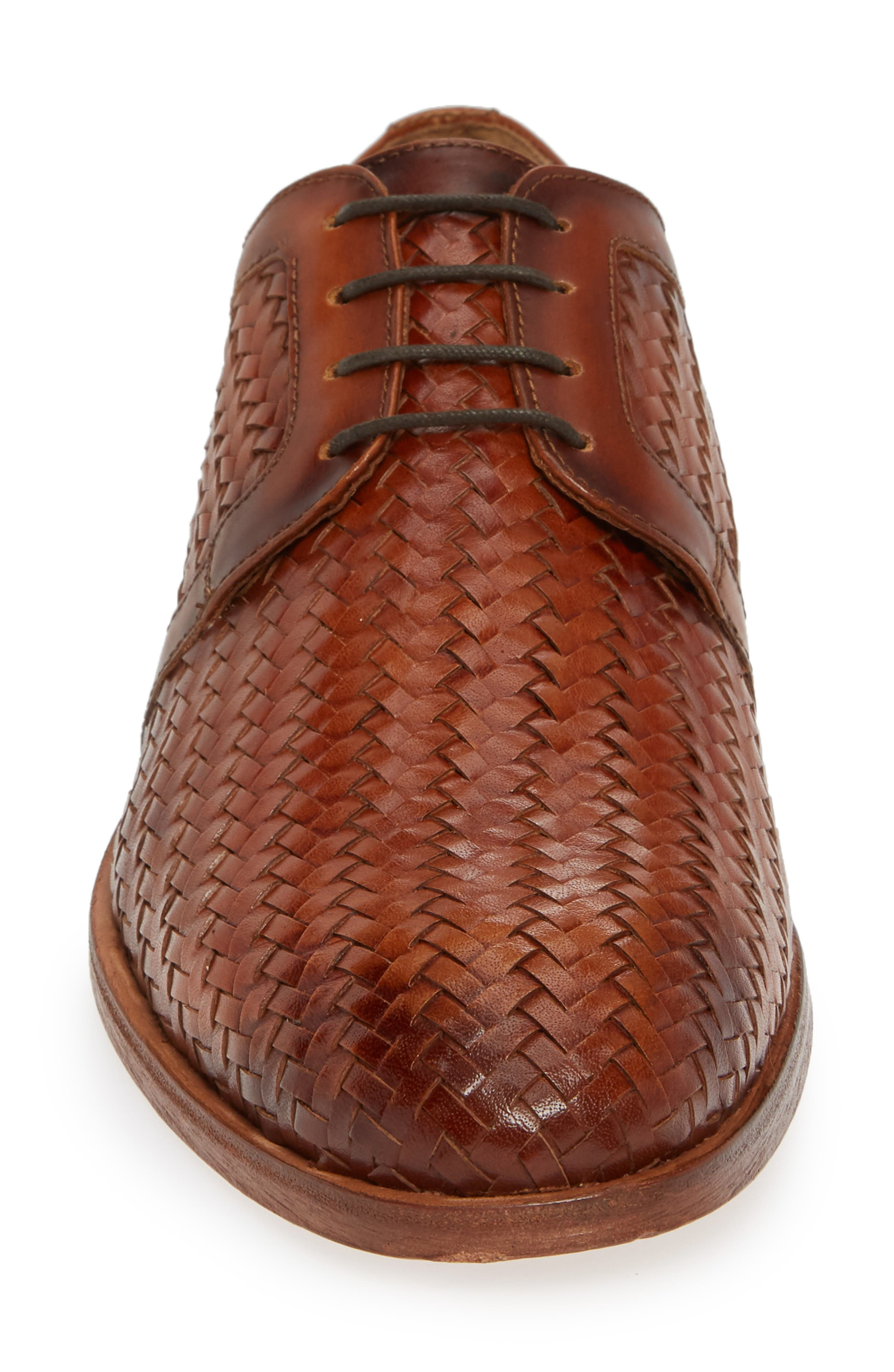 Bolinas True Woven Derby,                             Alternate thumbnail 4, color,                             COGNAC LEATHER