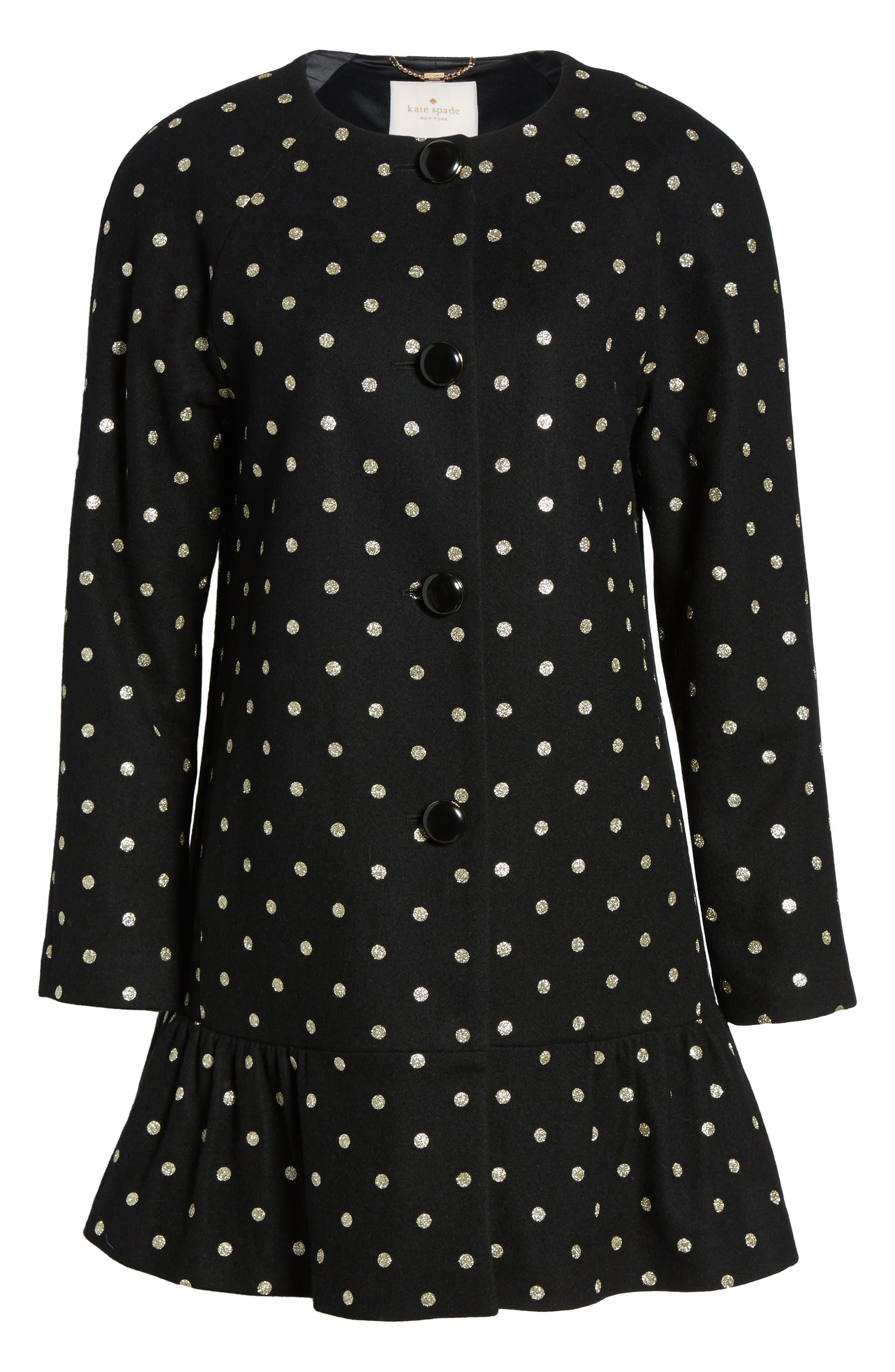 glitter dot wool blend coat,                             Alternate thumbnail 5, color,                             001