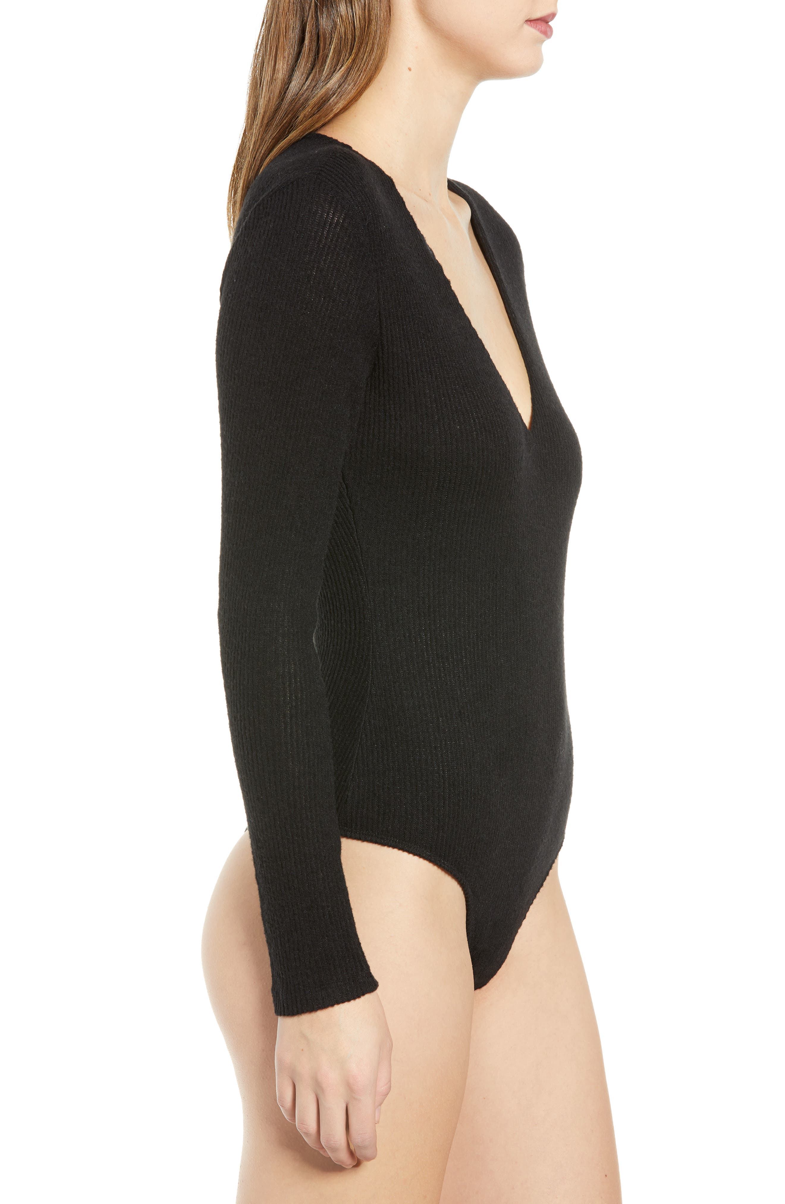 Ribbed V-Neck Bodysuit,                             Alternate thumbnail 4, color,                             BLACK