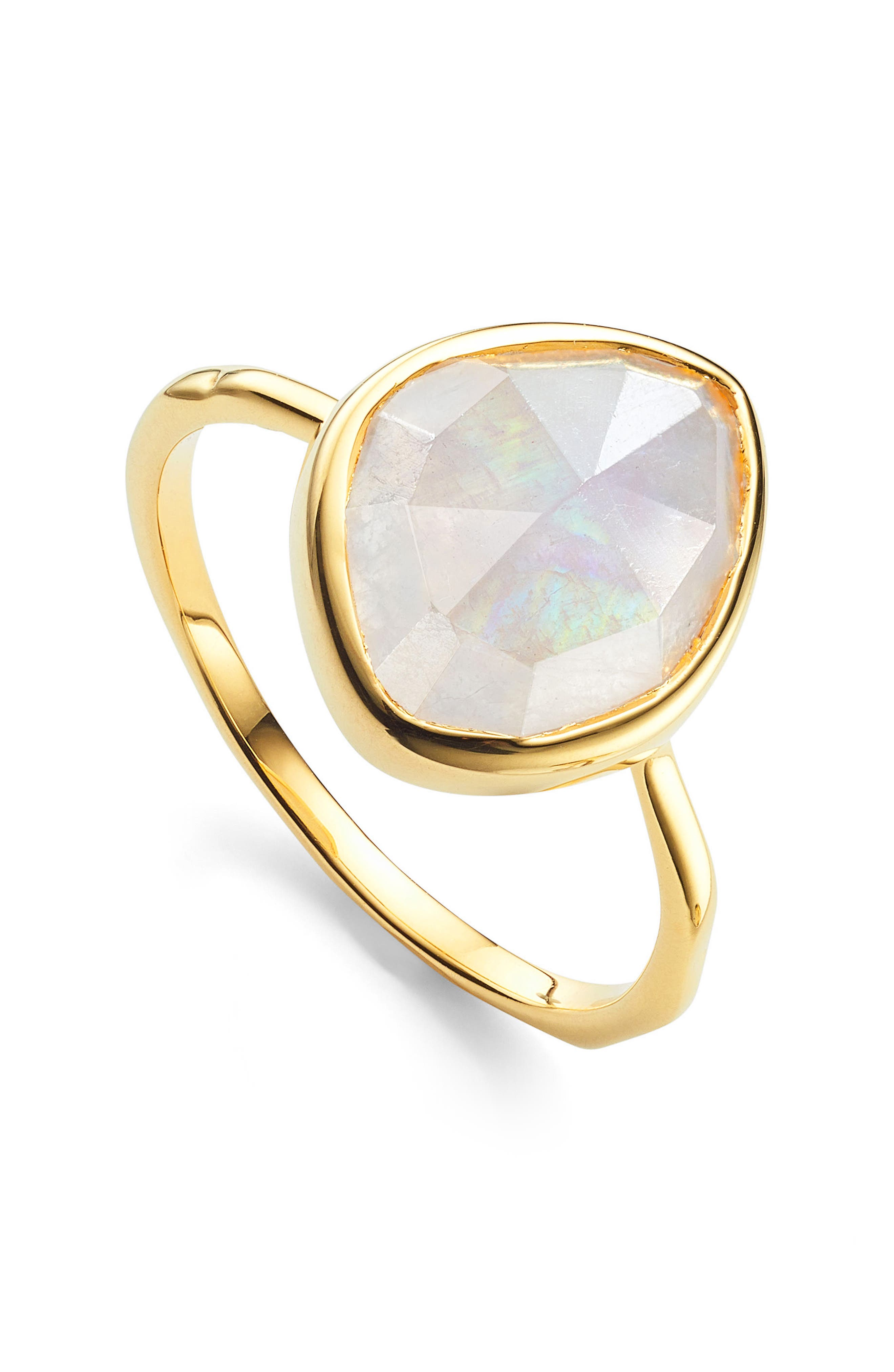 Siren Small Nugget Stacking Ring,                             Alternate thumbnail 3, color,                             YELLOW GOLD/ MOONSTONE