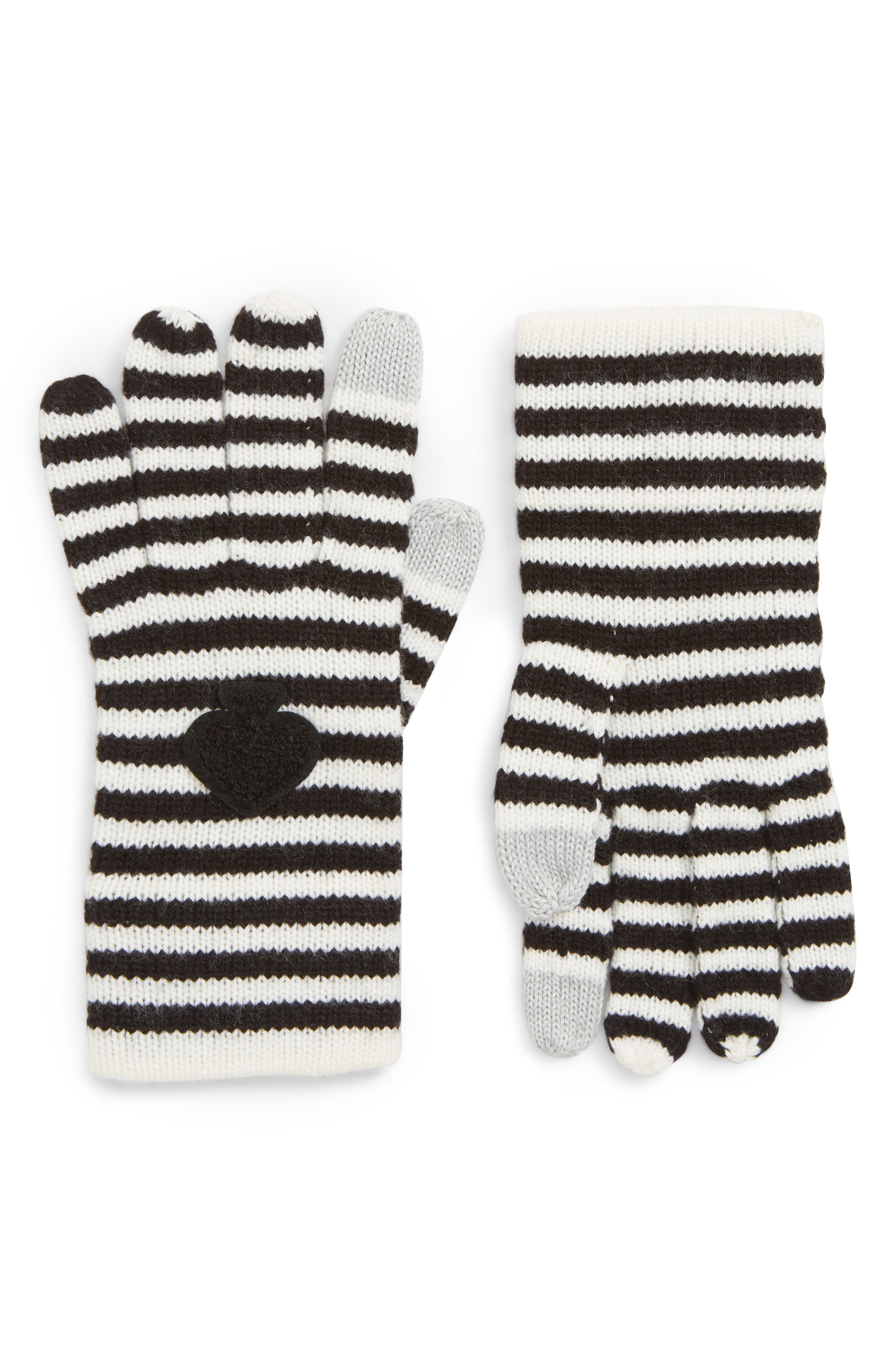 stripe tech gloves,                             Main thumbnail 1, color,                             BLACK/ CREAM