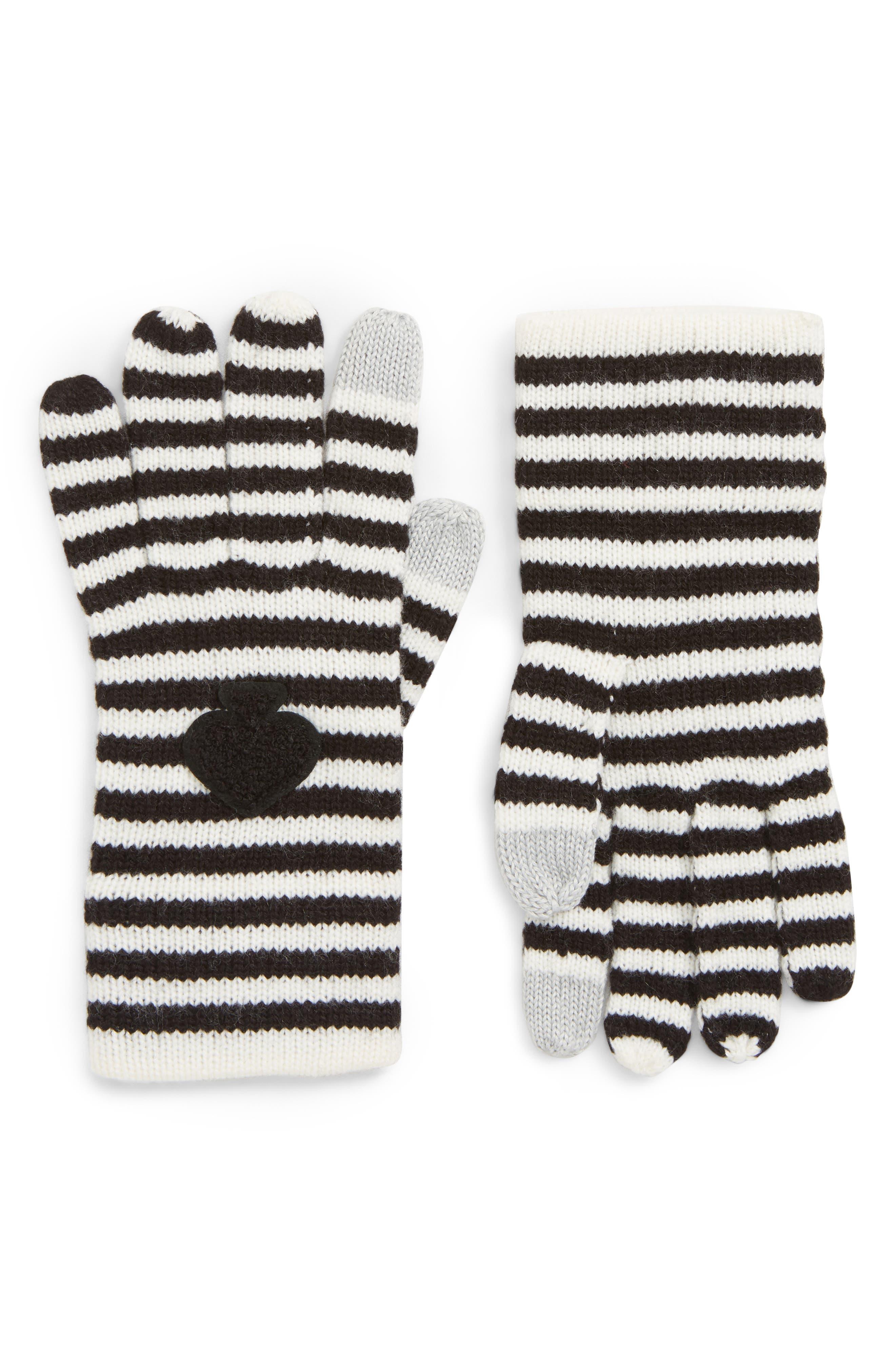 stripe tech gloves,                         Main,                         color, BLACK/ CREAM