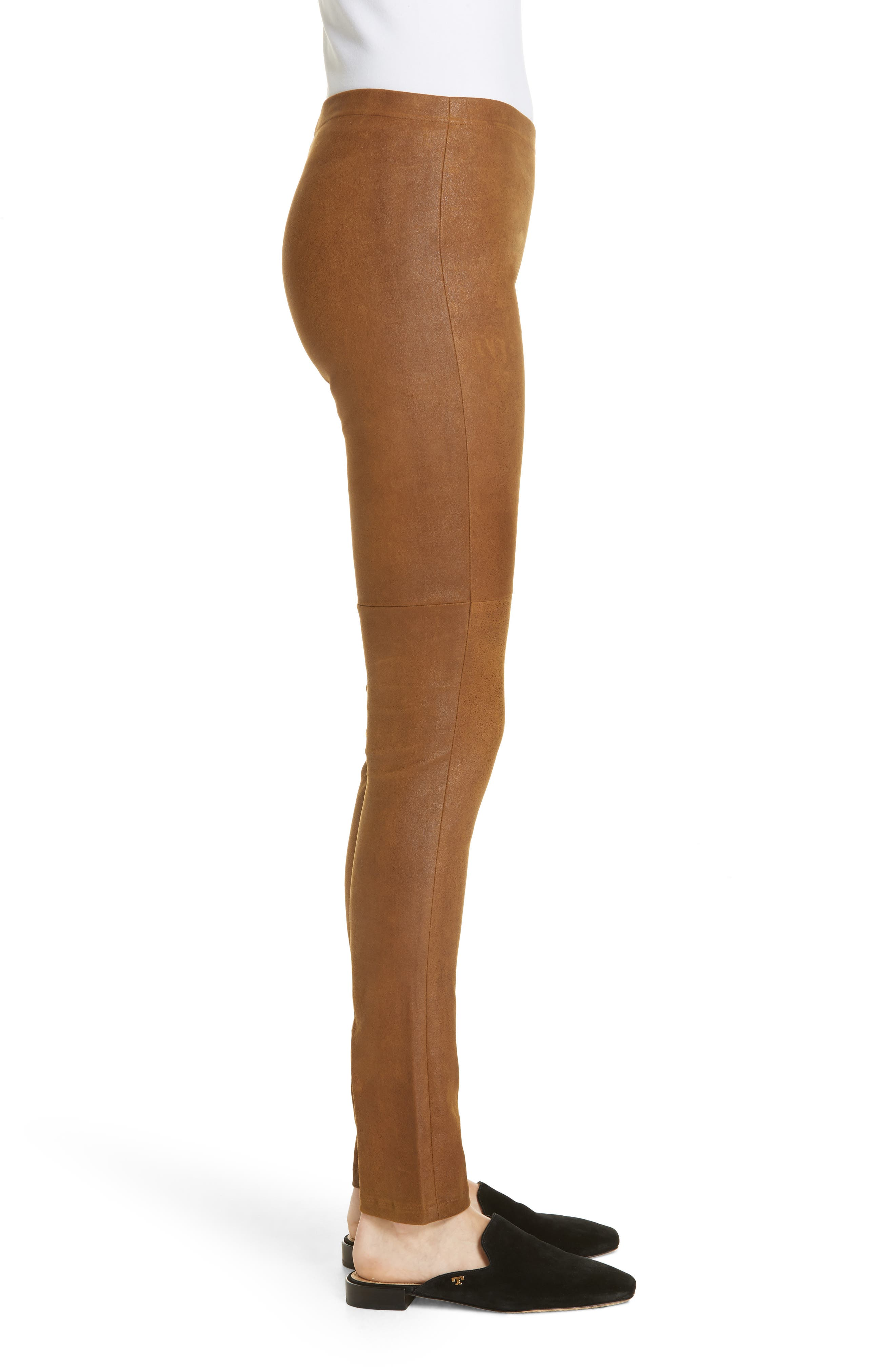 Esther Leather Leggings,                             Alternate thumbnail 3, color,                             CUMIN