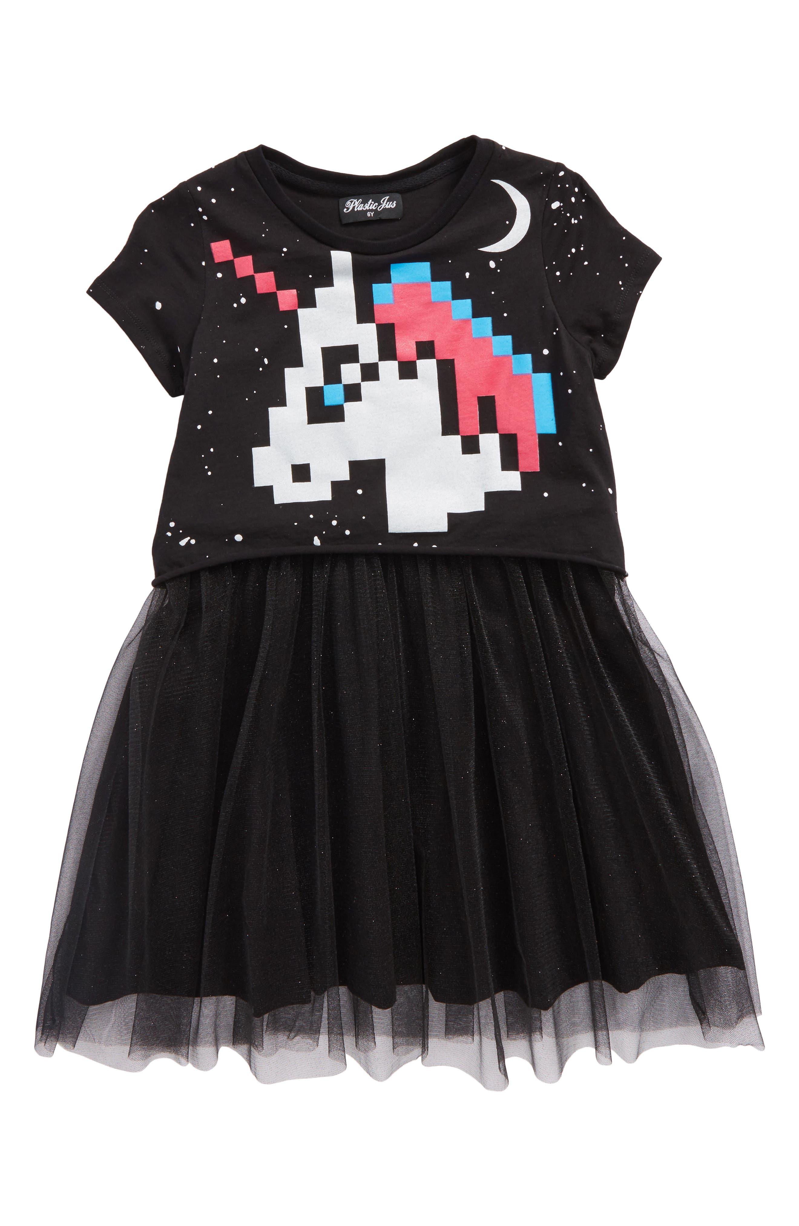 Pixel Unicorn Tutu Dress,                             Main thumbnail 1, color,                             001