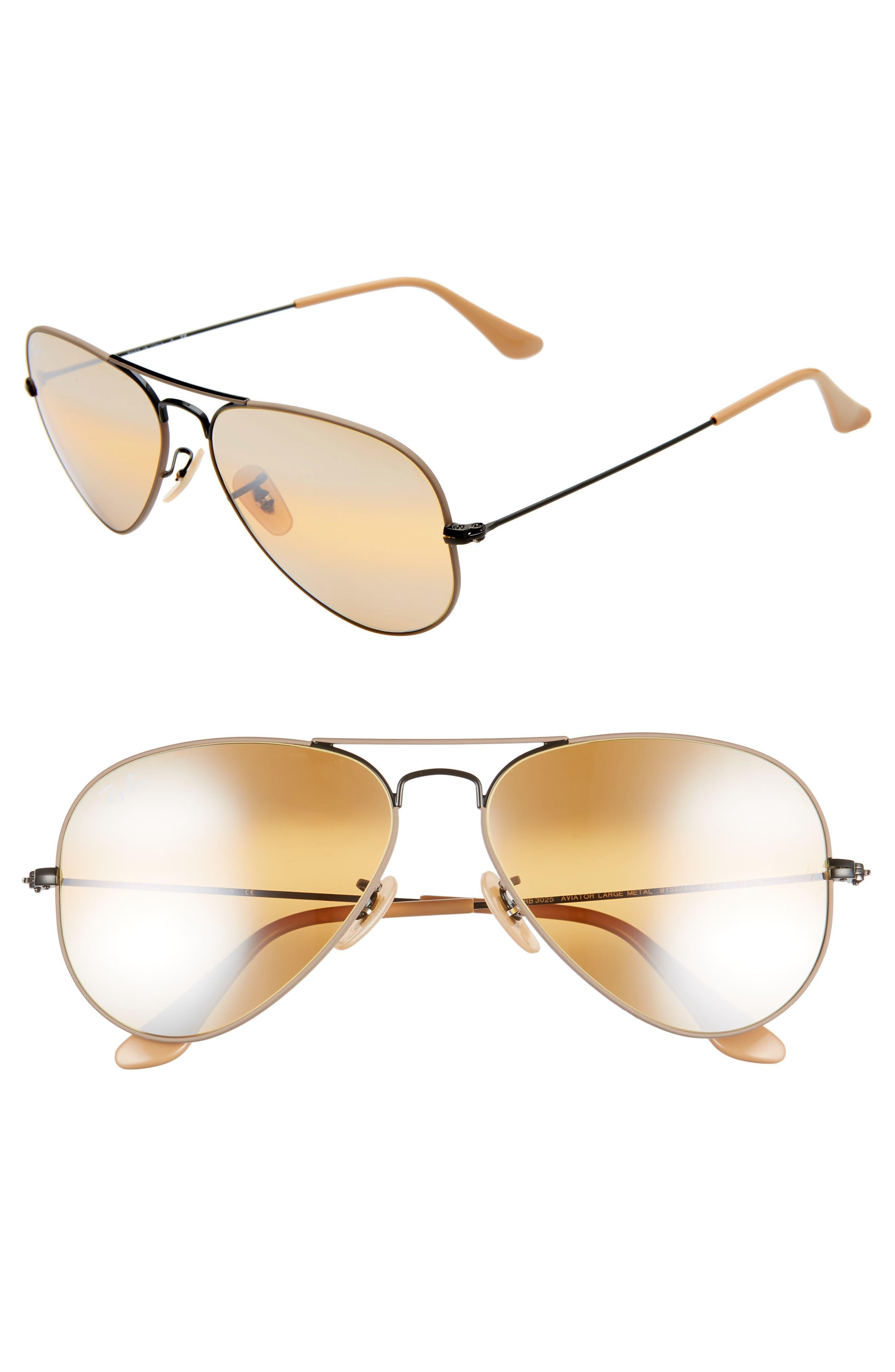 RAY-BAN Standard Original 58mm Aviator Sunglasses, Main, color, BEIGE/ BLACK MIRROR