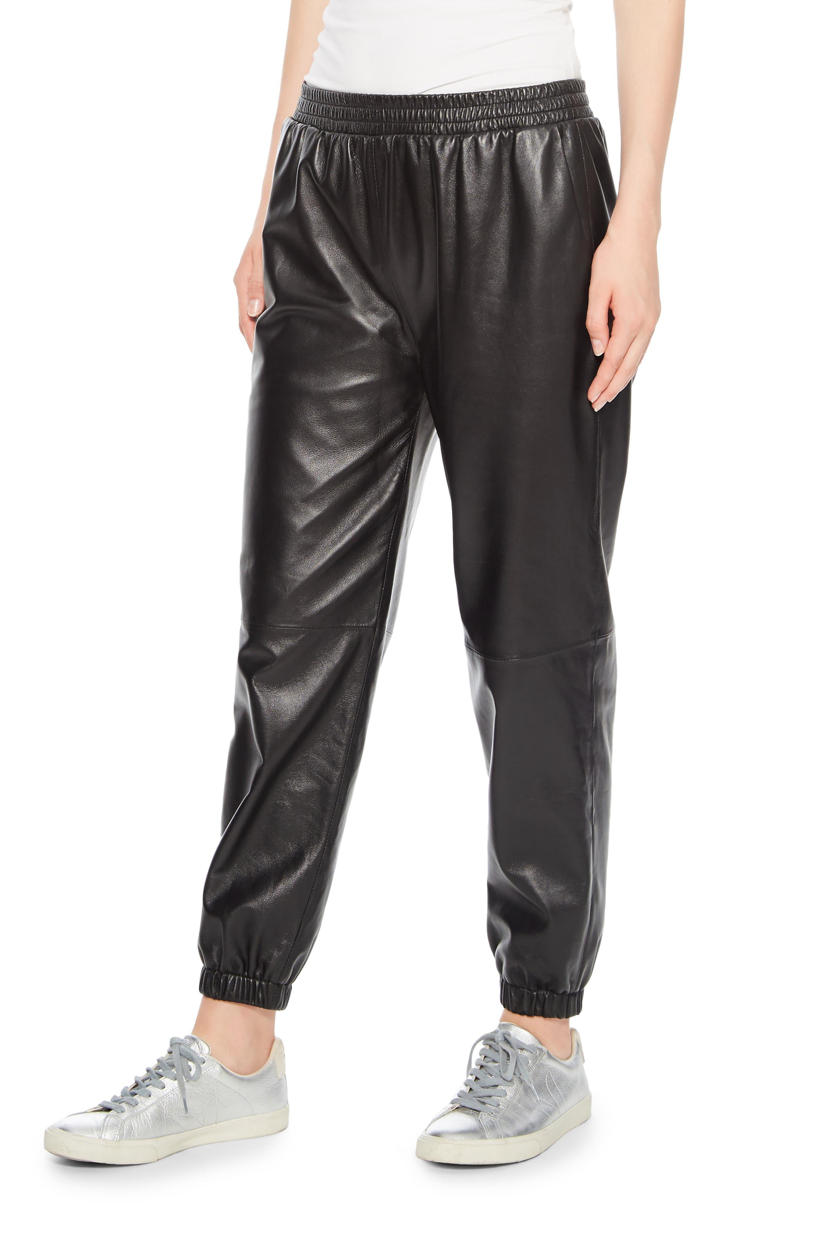 Eavan Leather Jogger Pants,                             Alternate thumbnail 3, color,                             001