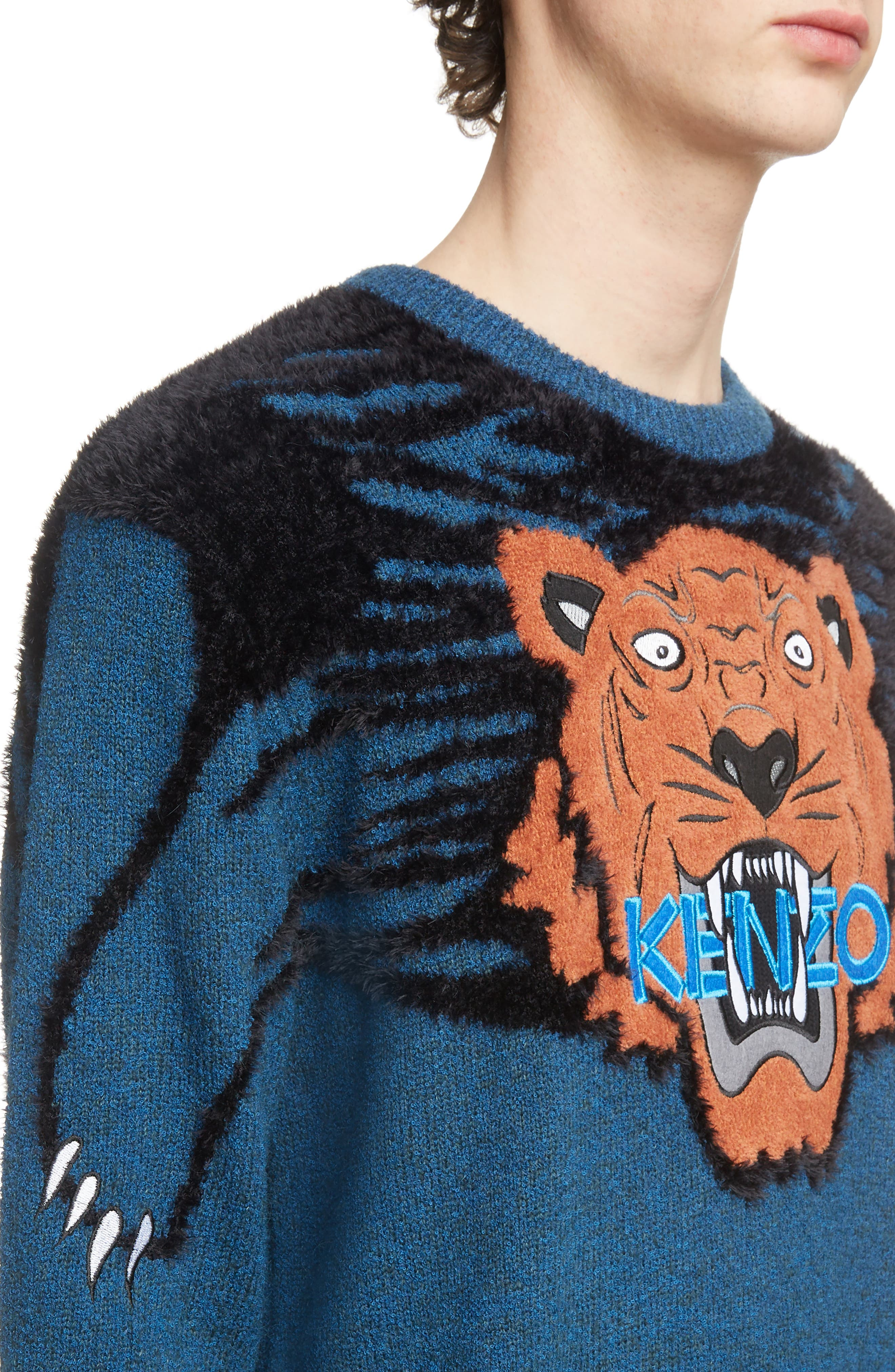 Tiger Claw Crewneck Sweater,                             Alternate thumbnail 4, color,                             PINE