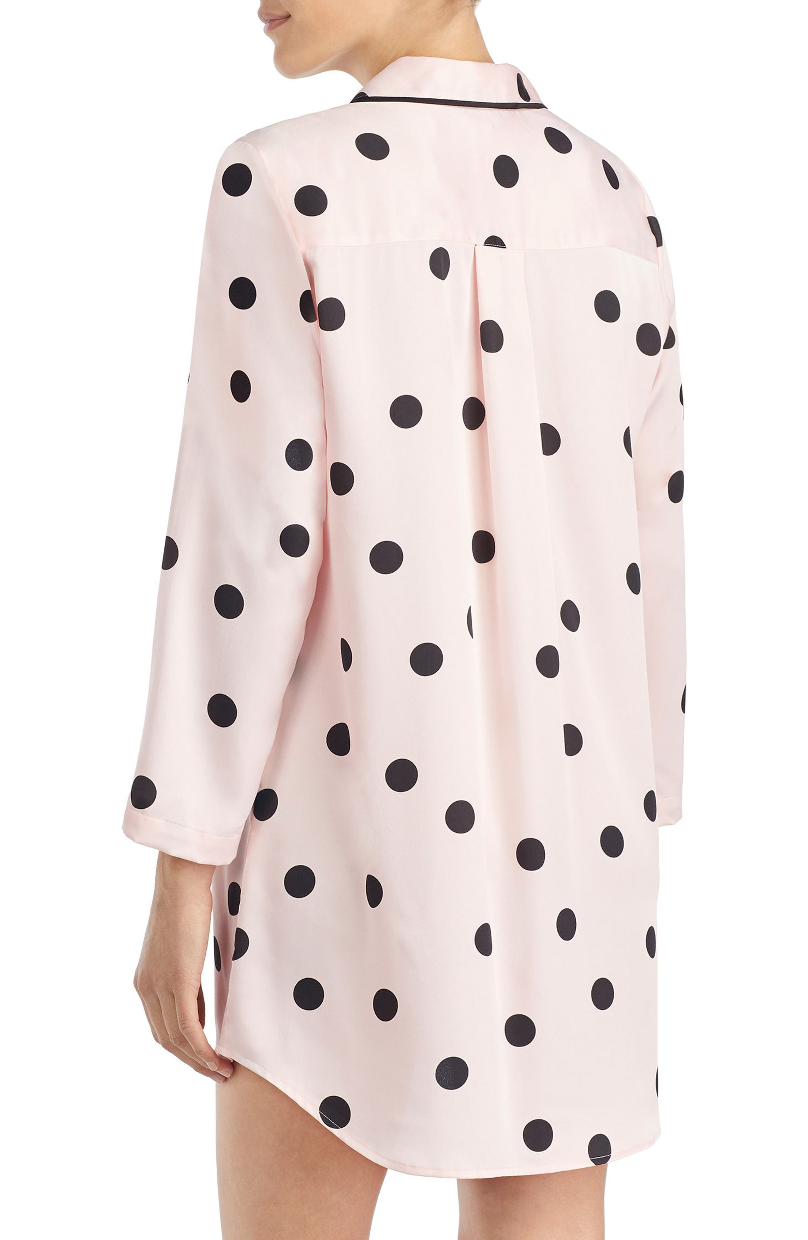 polka dot sleep shirt,                             Alternate thumbnail 2, color,