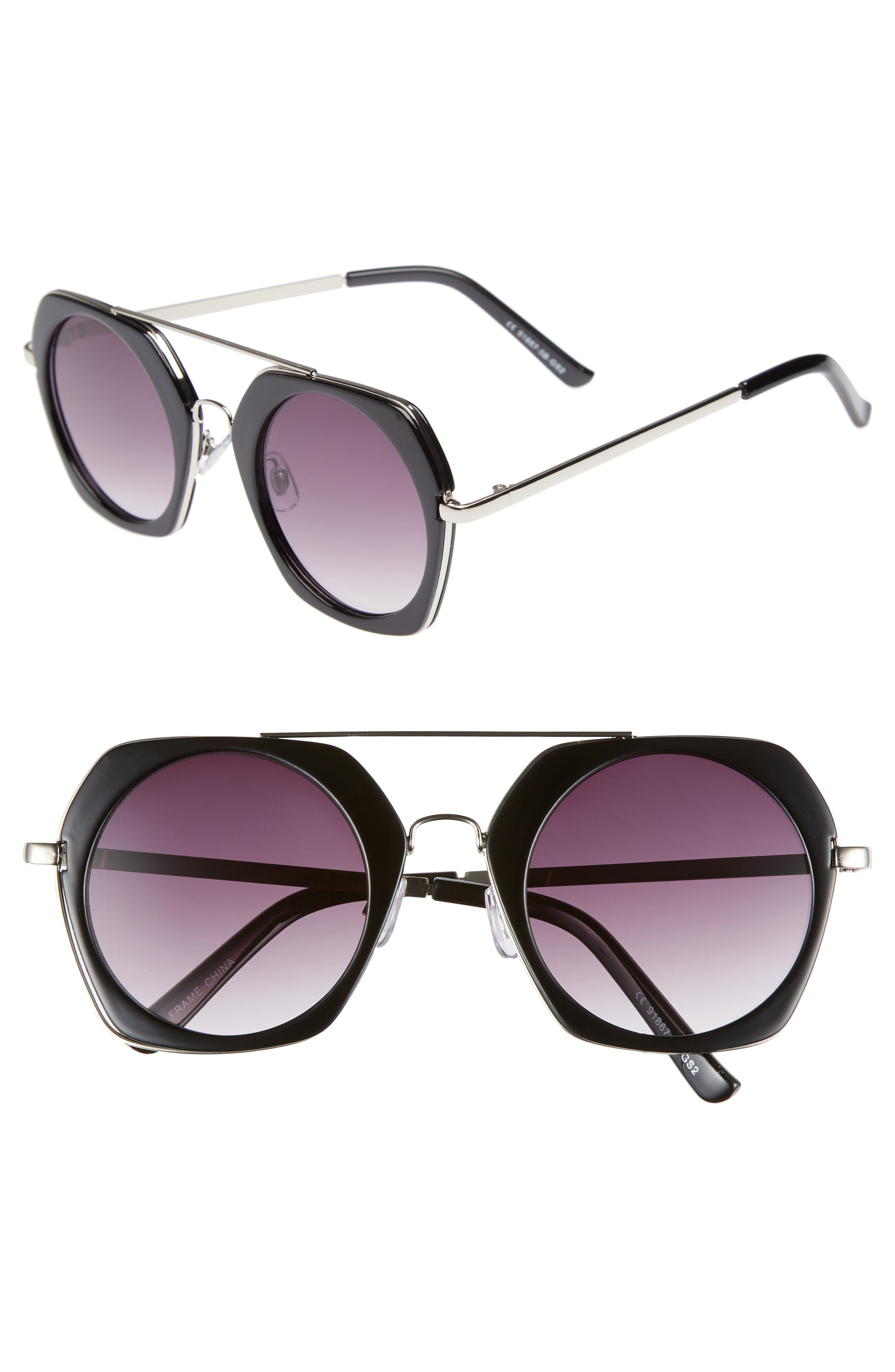 50mm Geometric Aviator Sunglasses,                         Main,                         color, BLACK