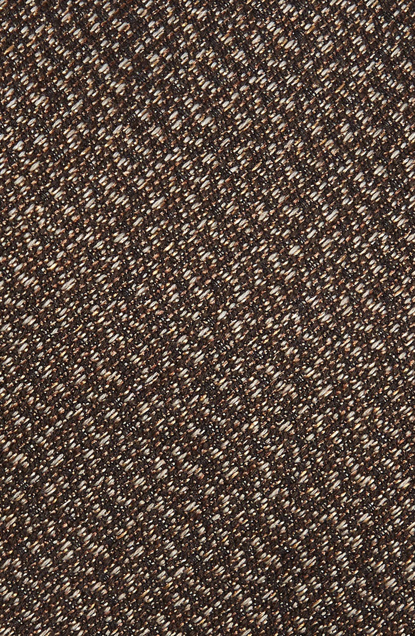 Solid Silk & Cotton Tie,                             Alternate thumbnail 2, color,                             CHOCOLATE
