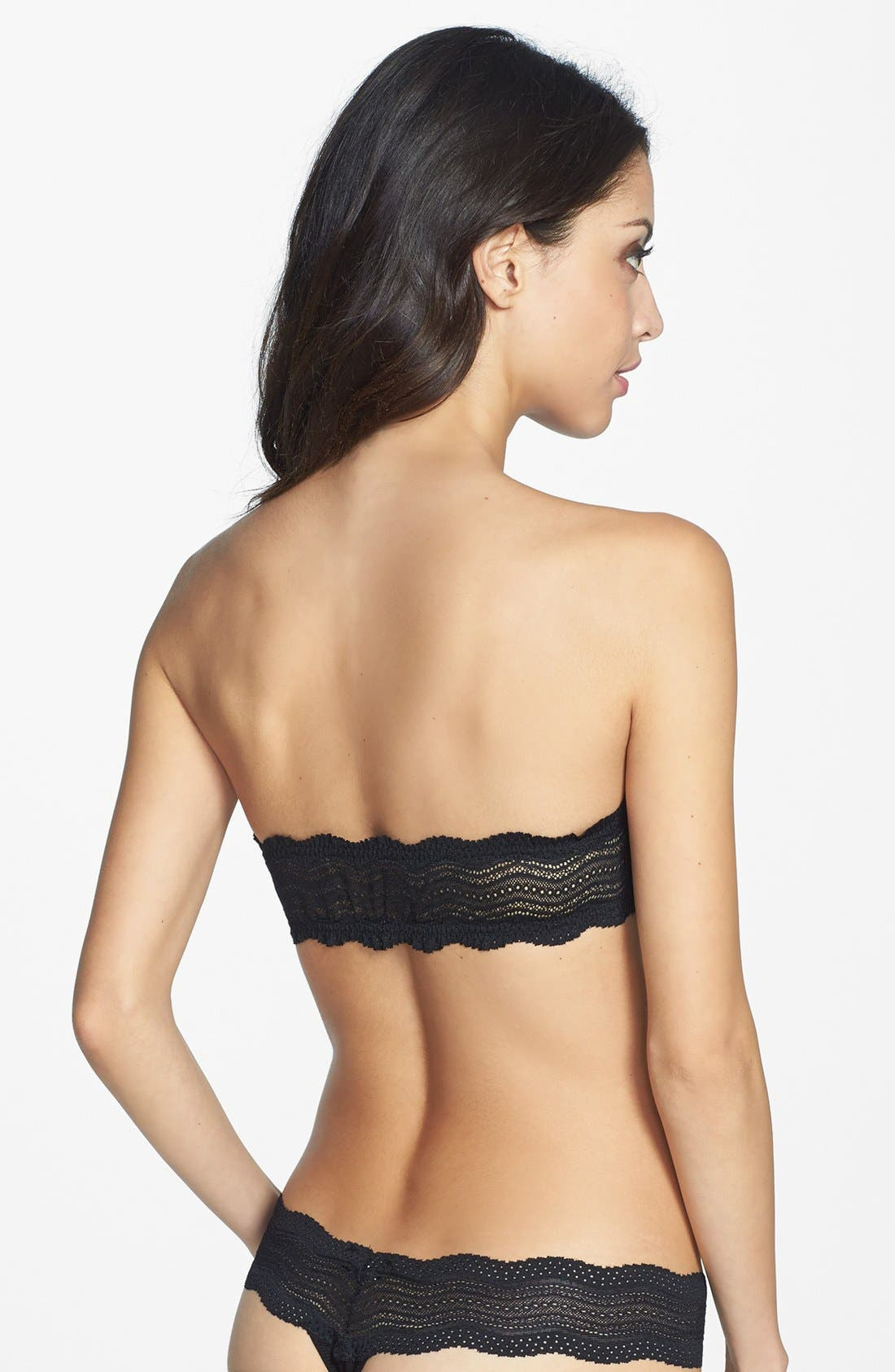 'Dolce' Lace Back Bandeau Bra,                             Alternate thumbnail 4, color,                             001