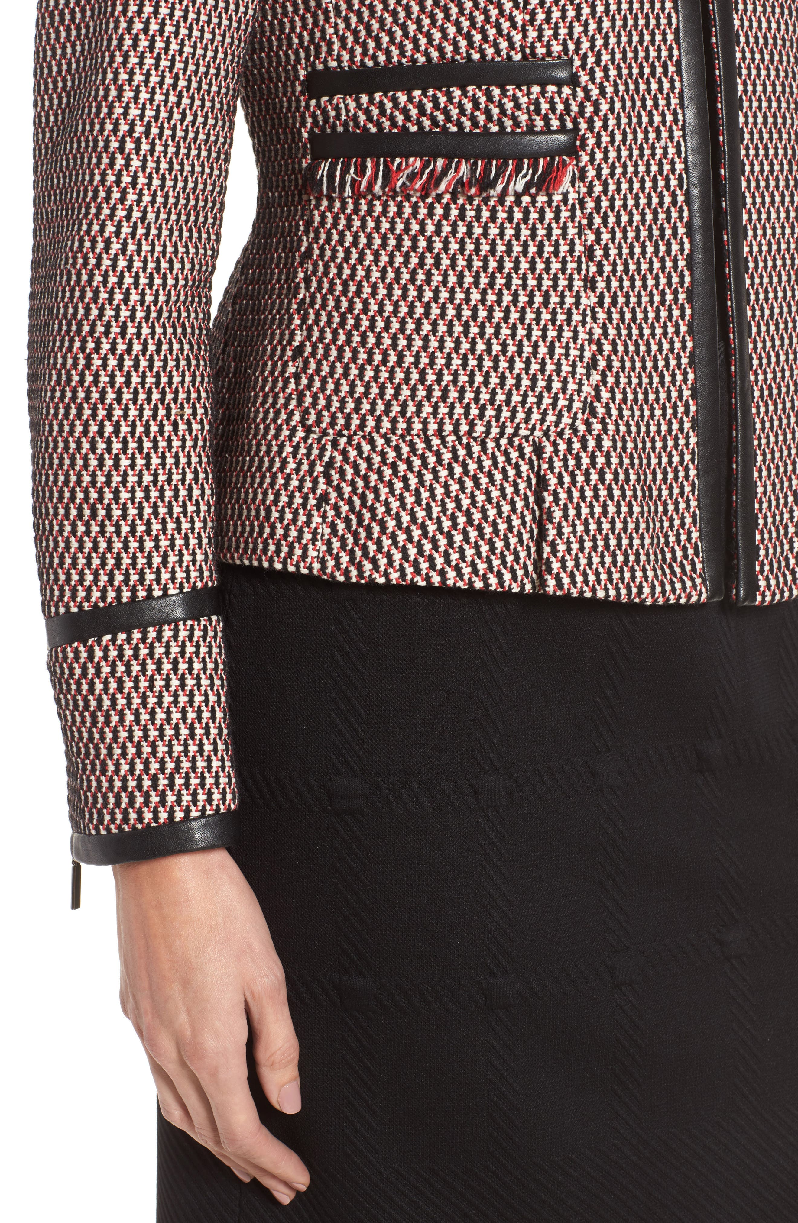 Keili Collarless Tweed Jacket,                             Alternate thumbnail 4, color,                             903