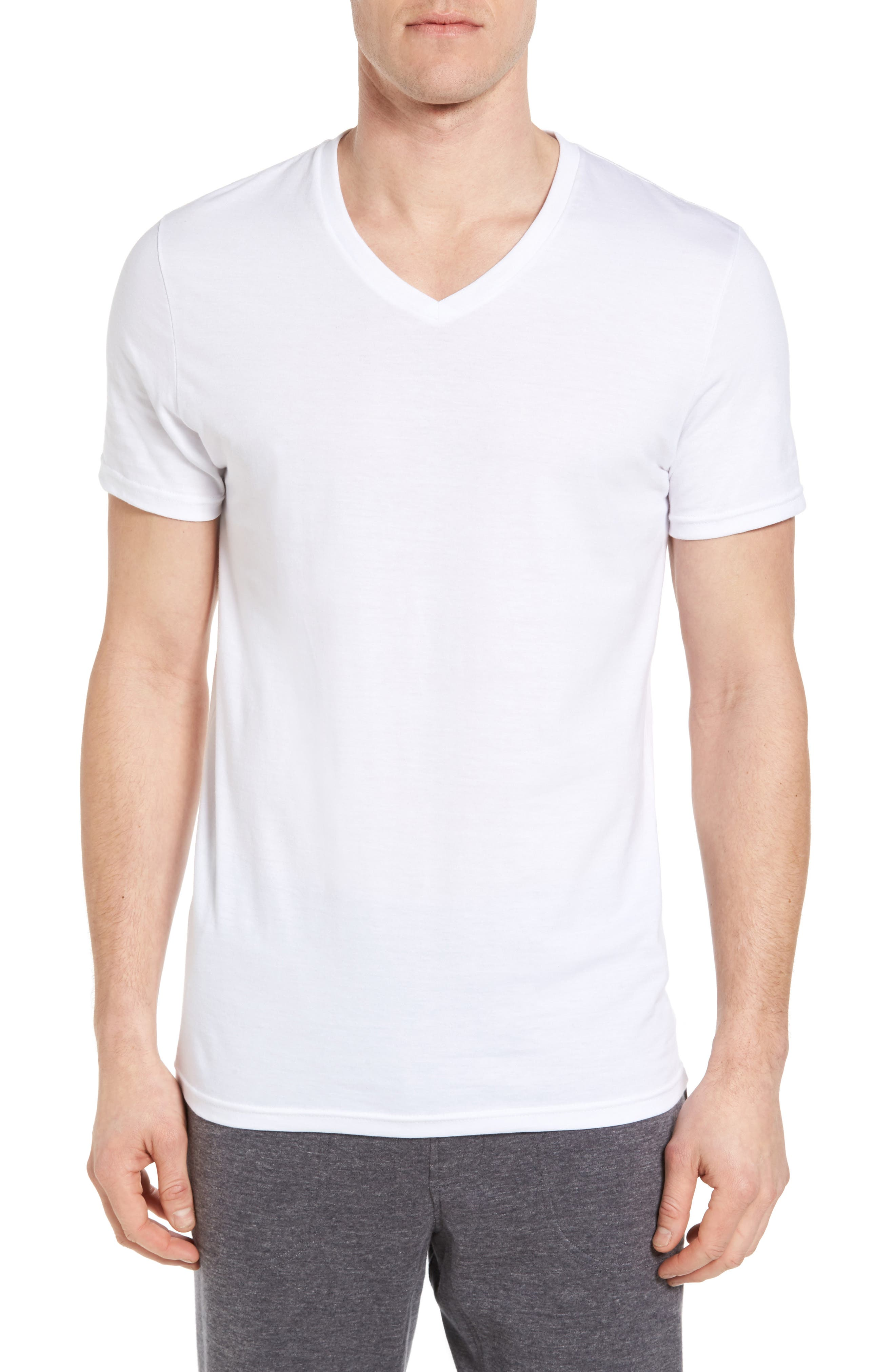 4-Pack Trim Fit Supima<sup>®</sup> Cotton V-Neck T-Shirts,                             Alternate thumbnail 2, color,                             WHITE