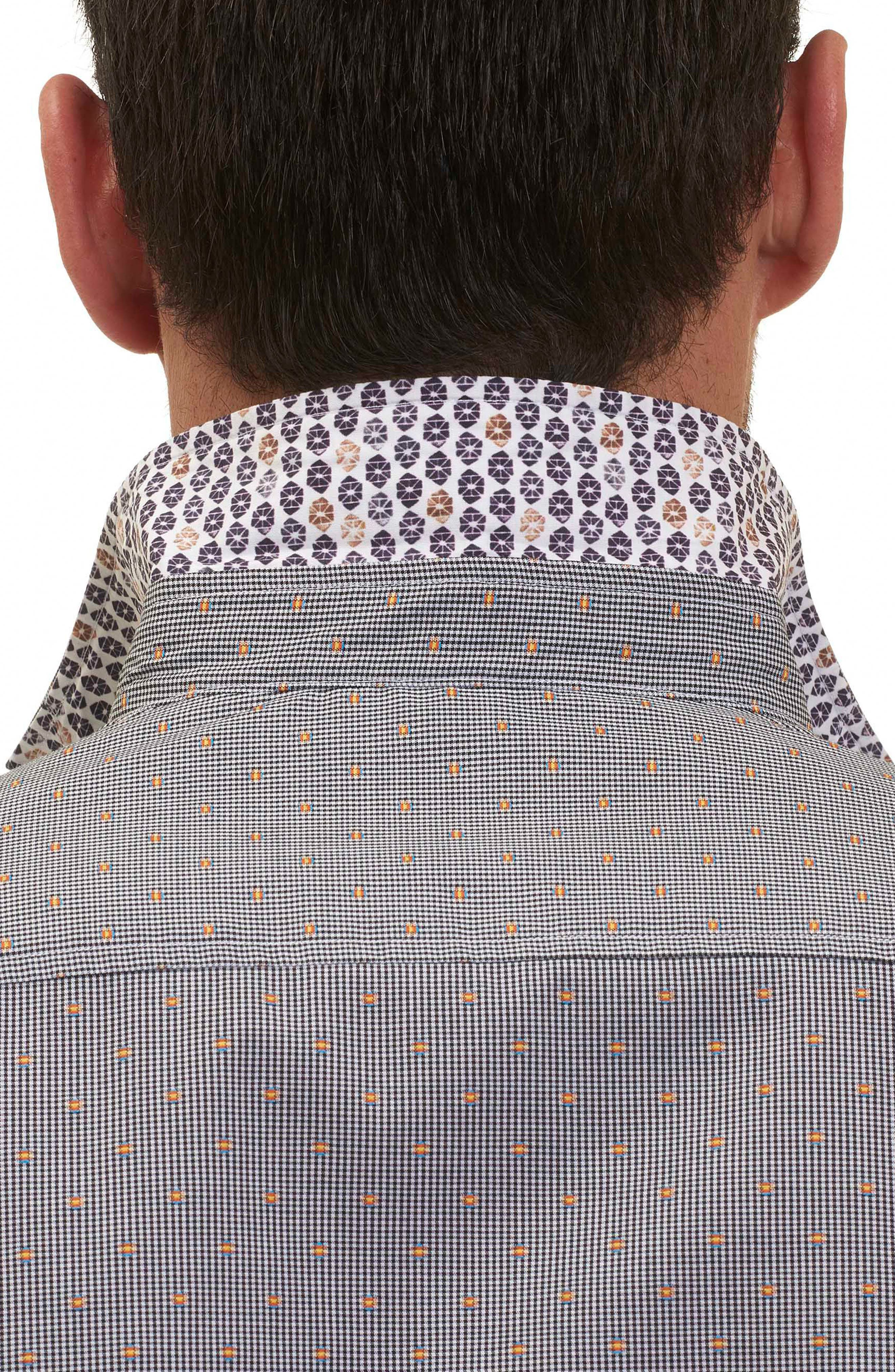 Tailored Fit Houndstooth Sport Shirt,                             Alternate thumbnail 3, color,                             001