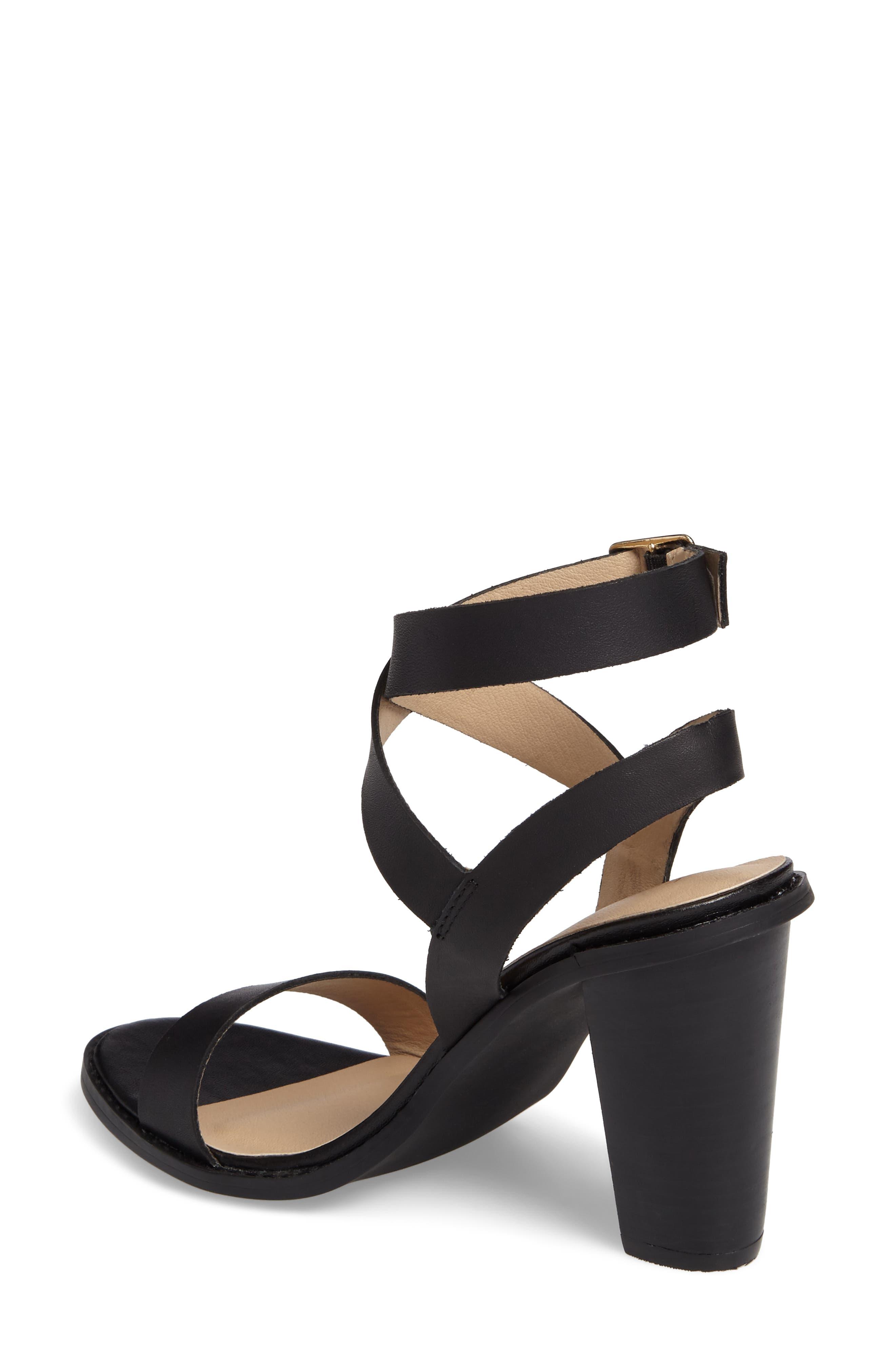 Poshy Ankle Wrap Sandal,                             Alternate thumbnail 2, color,                             BLACK LEATHER