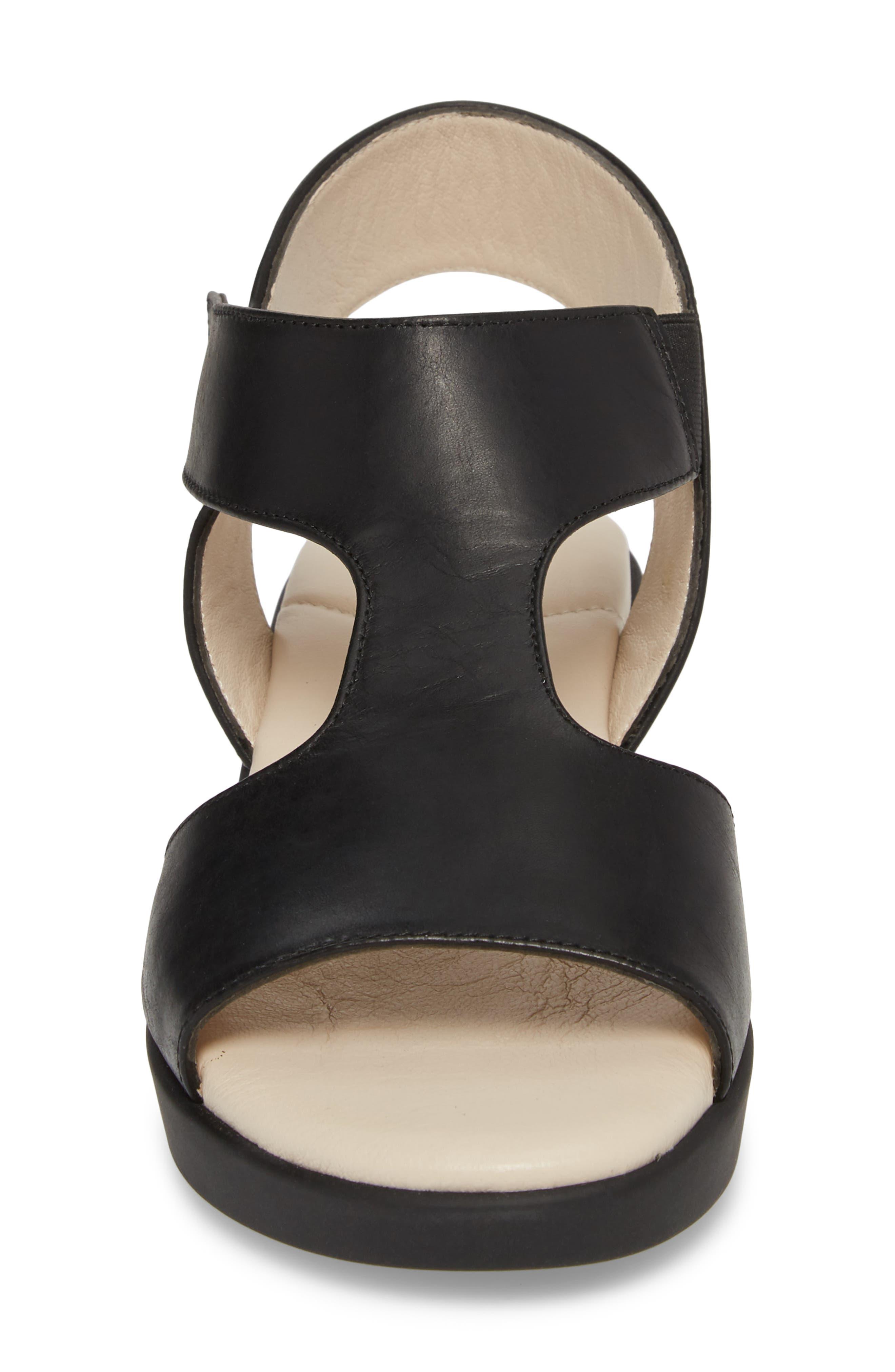 Gabby Platform Sandal,                             Alternate thumbnail 4, color,                             BLACK LEATHER