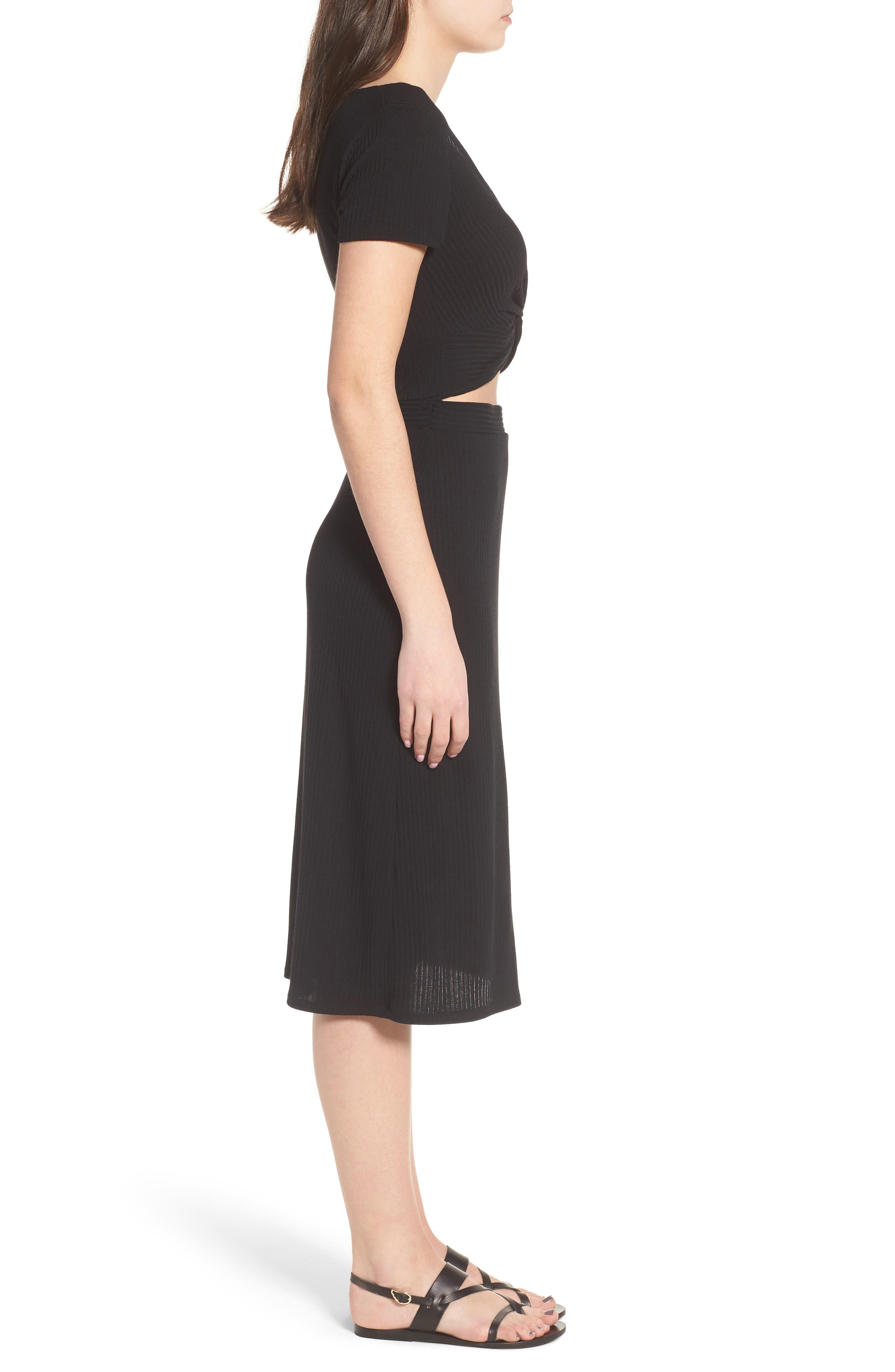 Twist Front Midi Dress,                             Alternate thumbnail 3, color,                             001