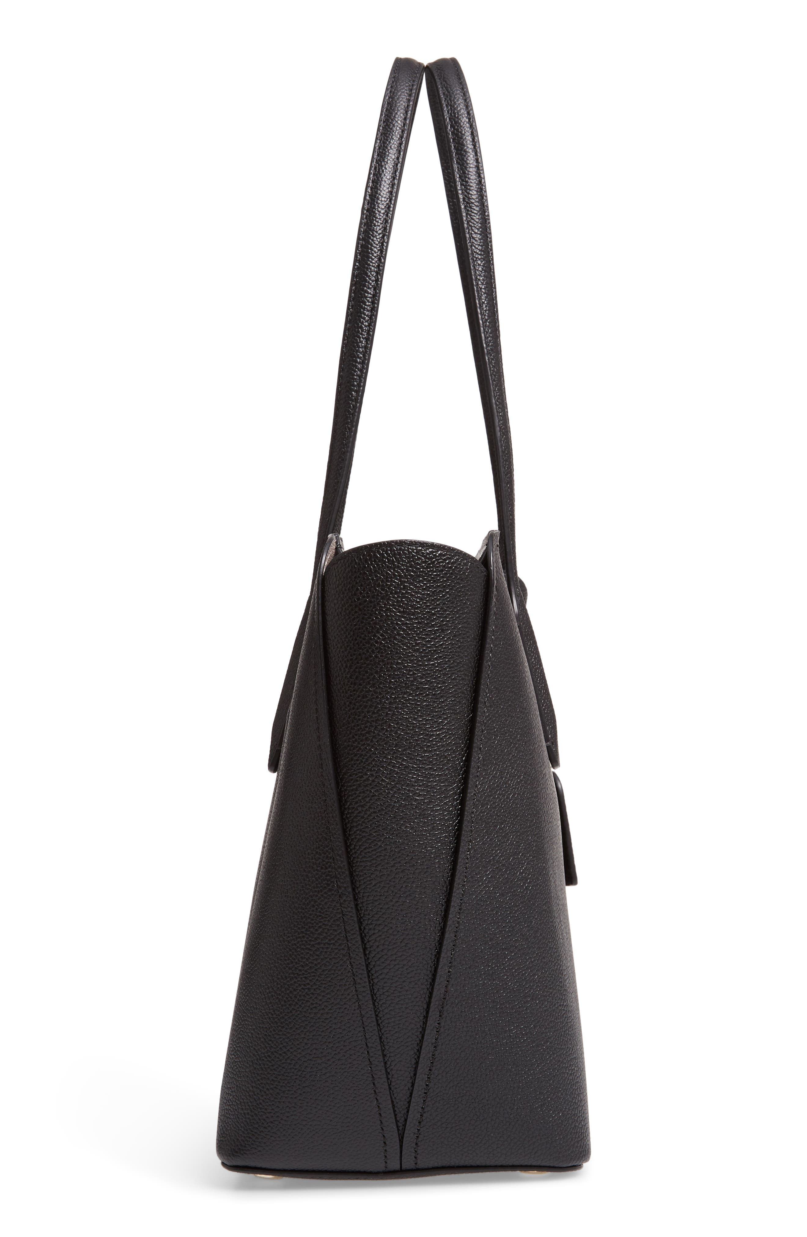 medium margaux leather tote,                             Alternate thumbnail 5, color,                             BLACK