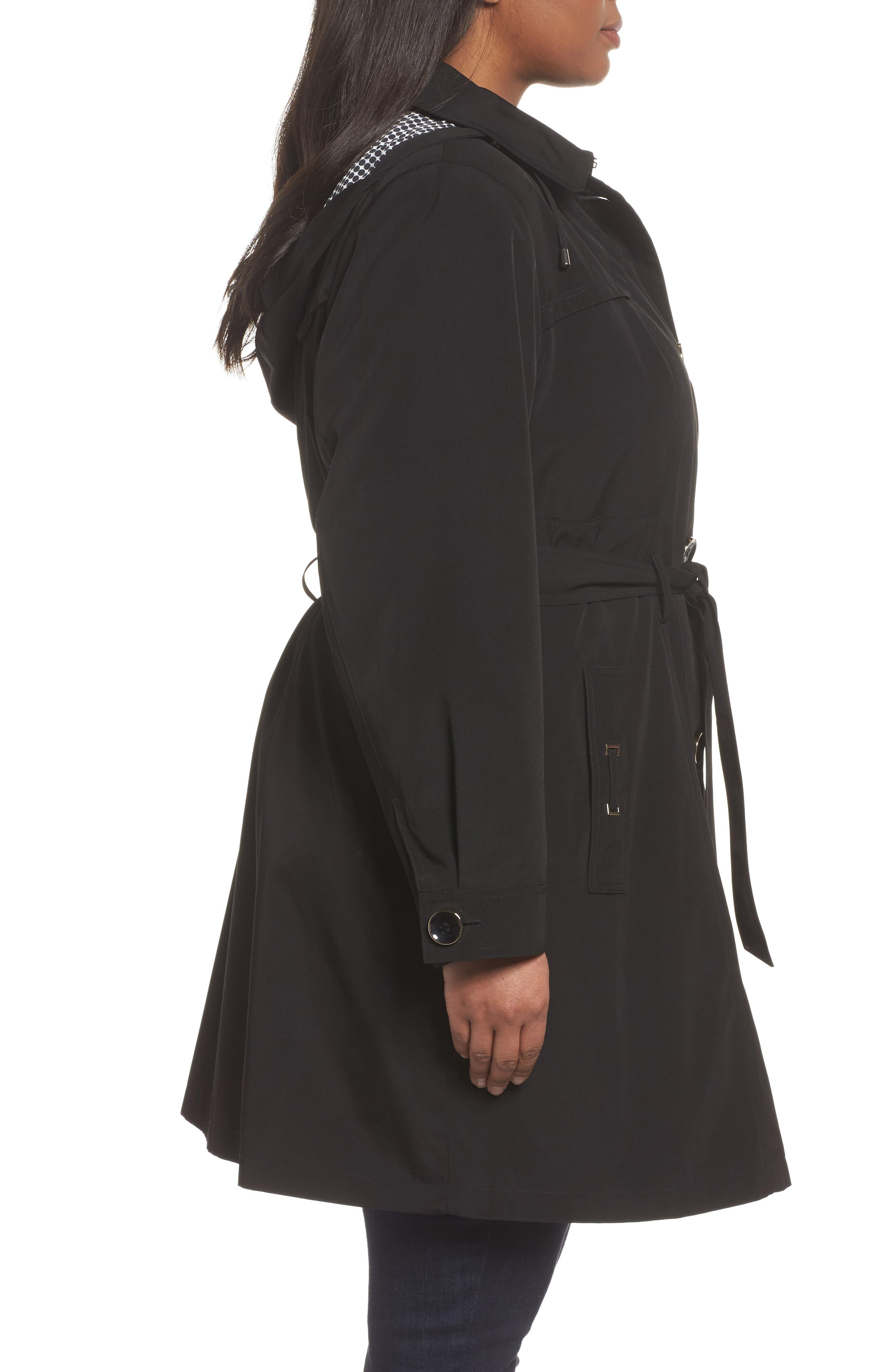 Belted Trench Raincoat,                             Alternate thumbnail 3, color,                             001