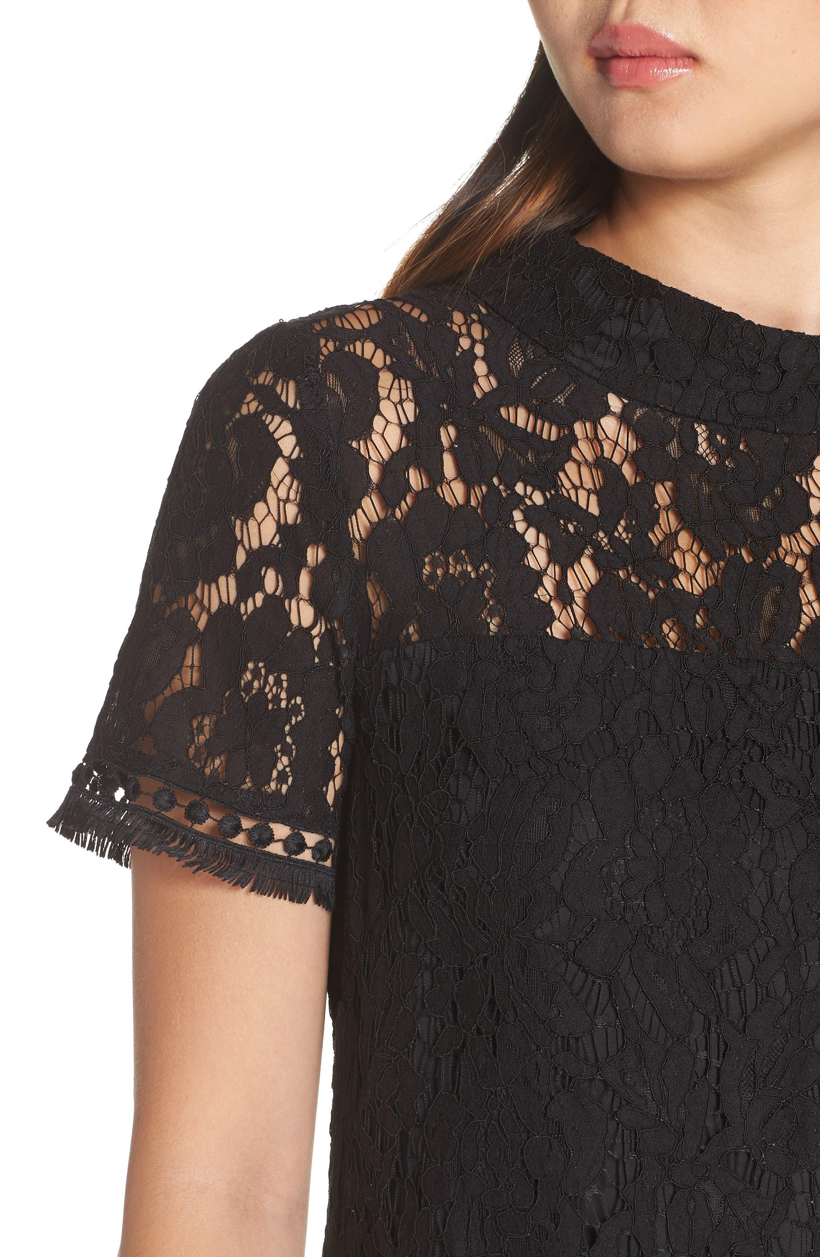 High Neck Lace Shift Dress,                             Alternate thumbnail 4, color,                             001