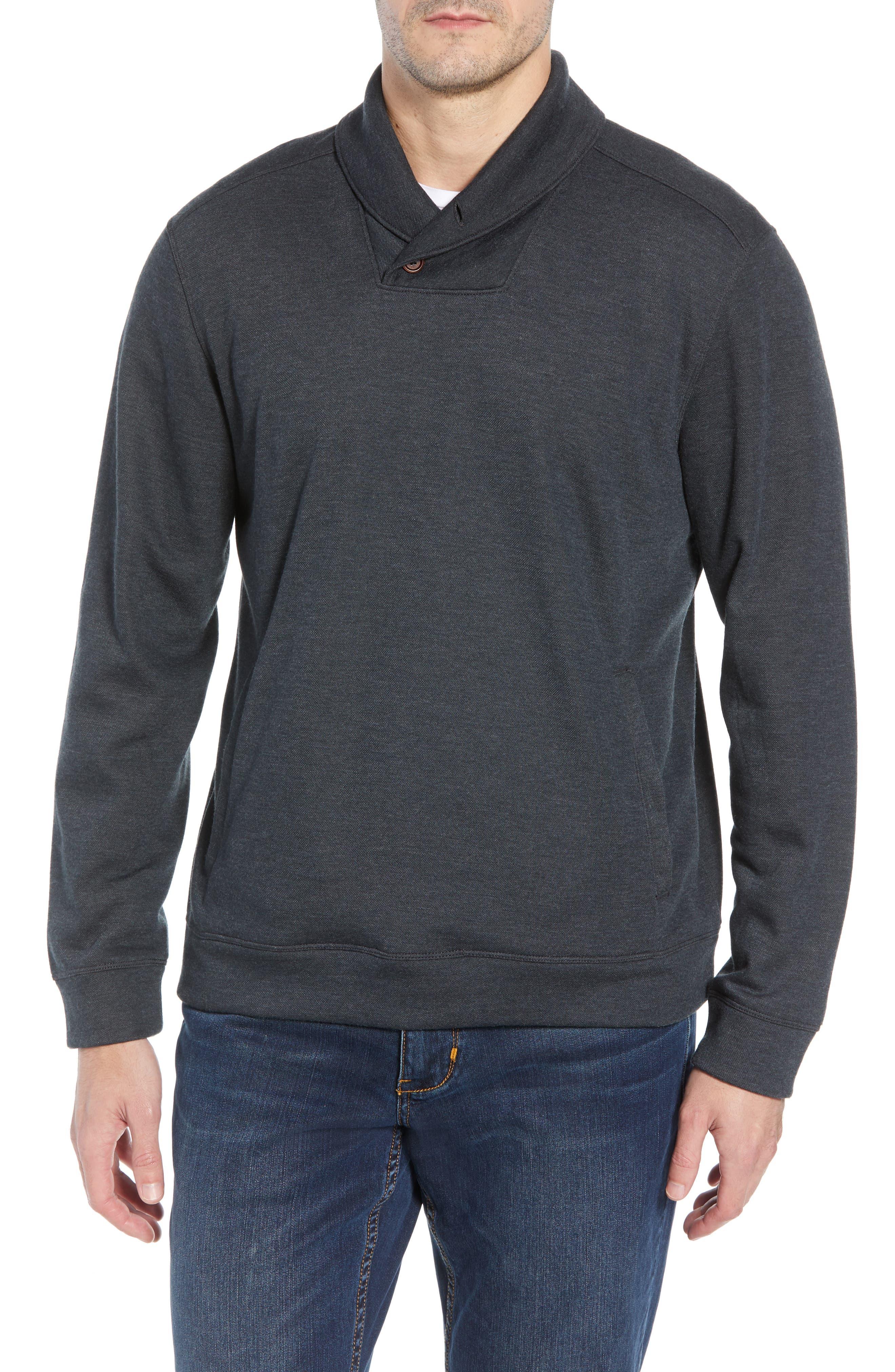 Sandbar Shawl Collar Regular Fit Pullover,                             Main thumbnail 1, color,                             COAL