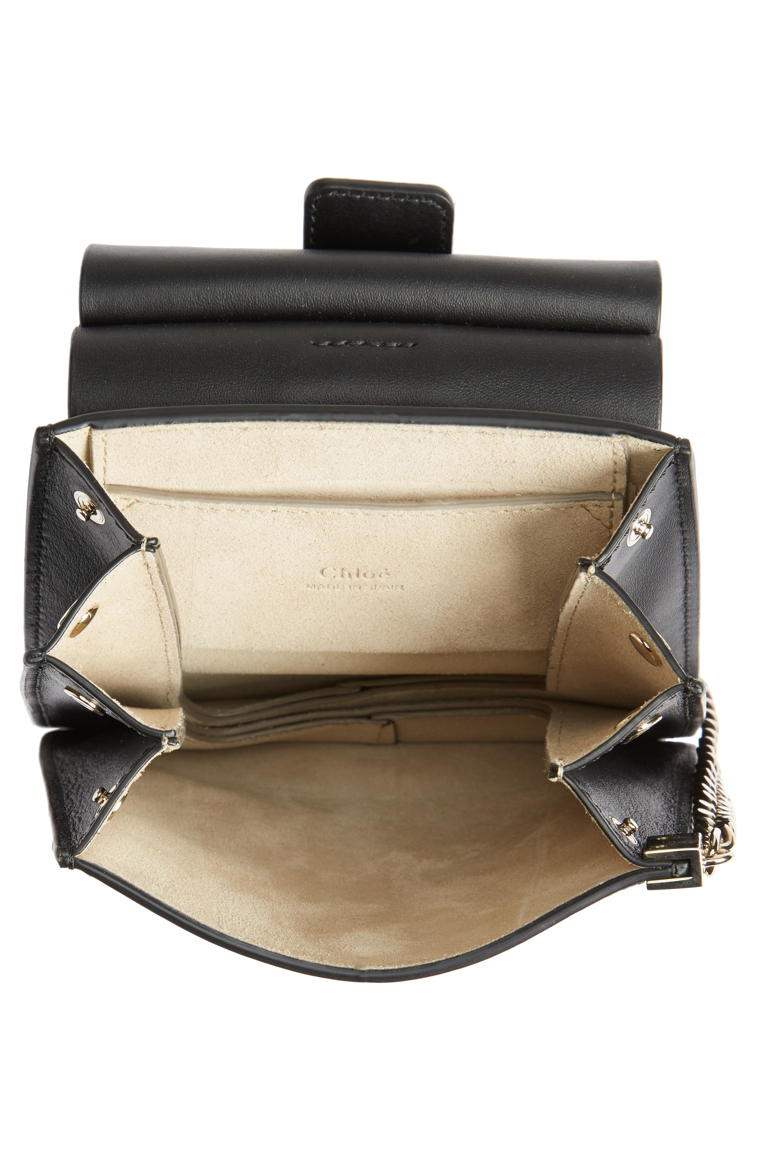 Faye Small Suede & Leather Bracelet Bag,                             Alternate thumbnail 6, color,                             BLACK
