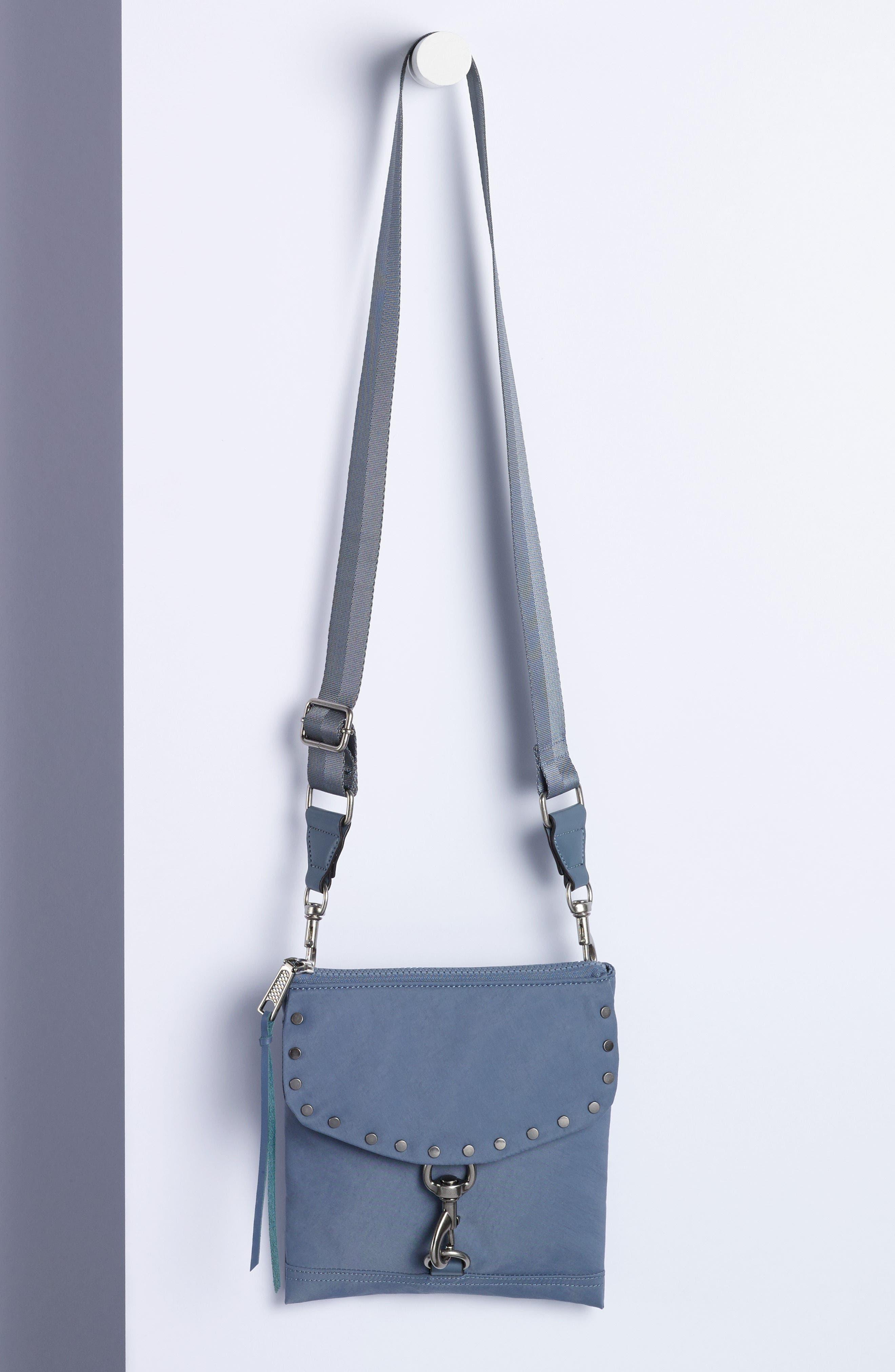 Nylon Flap Crossbody Bag,                             Alternate thumbnail 7, color,                             001