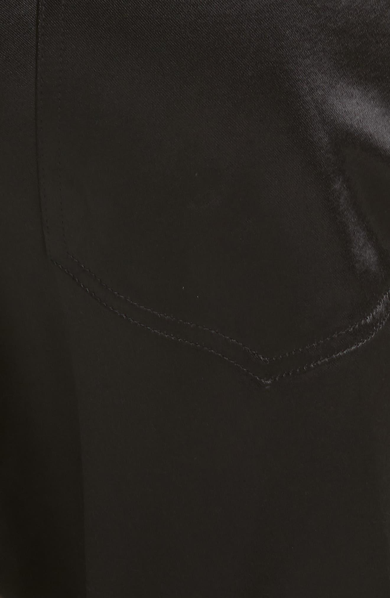 The Satin Trousers,                             Alternate thumbnail 5, color,                             BLACK