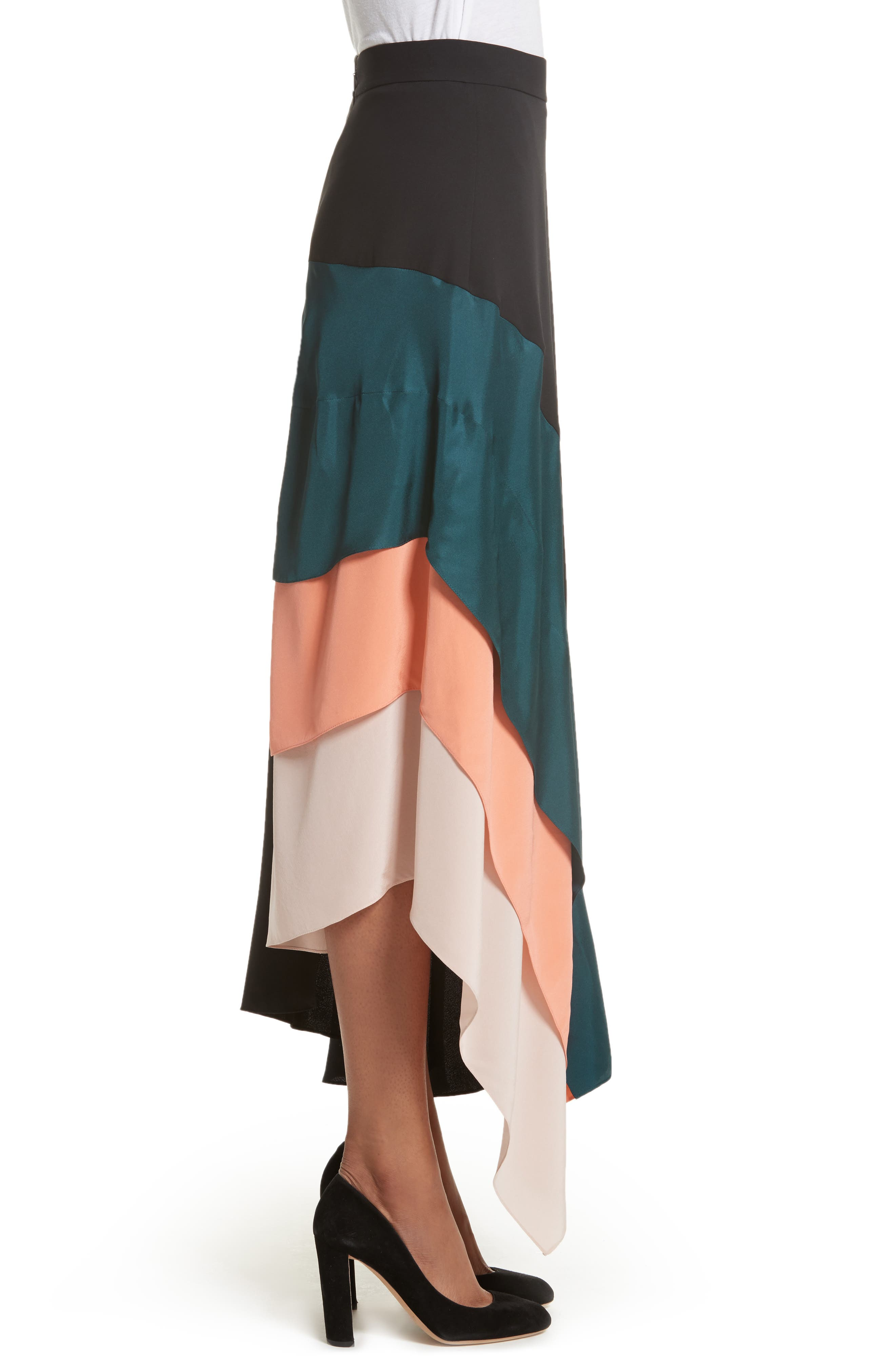 Delma Asymmetric Silk Skirt,                             Alternate thumbnail 3, color,