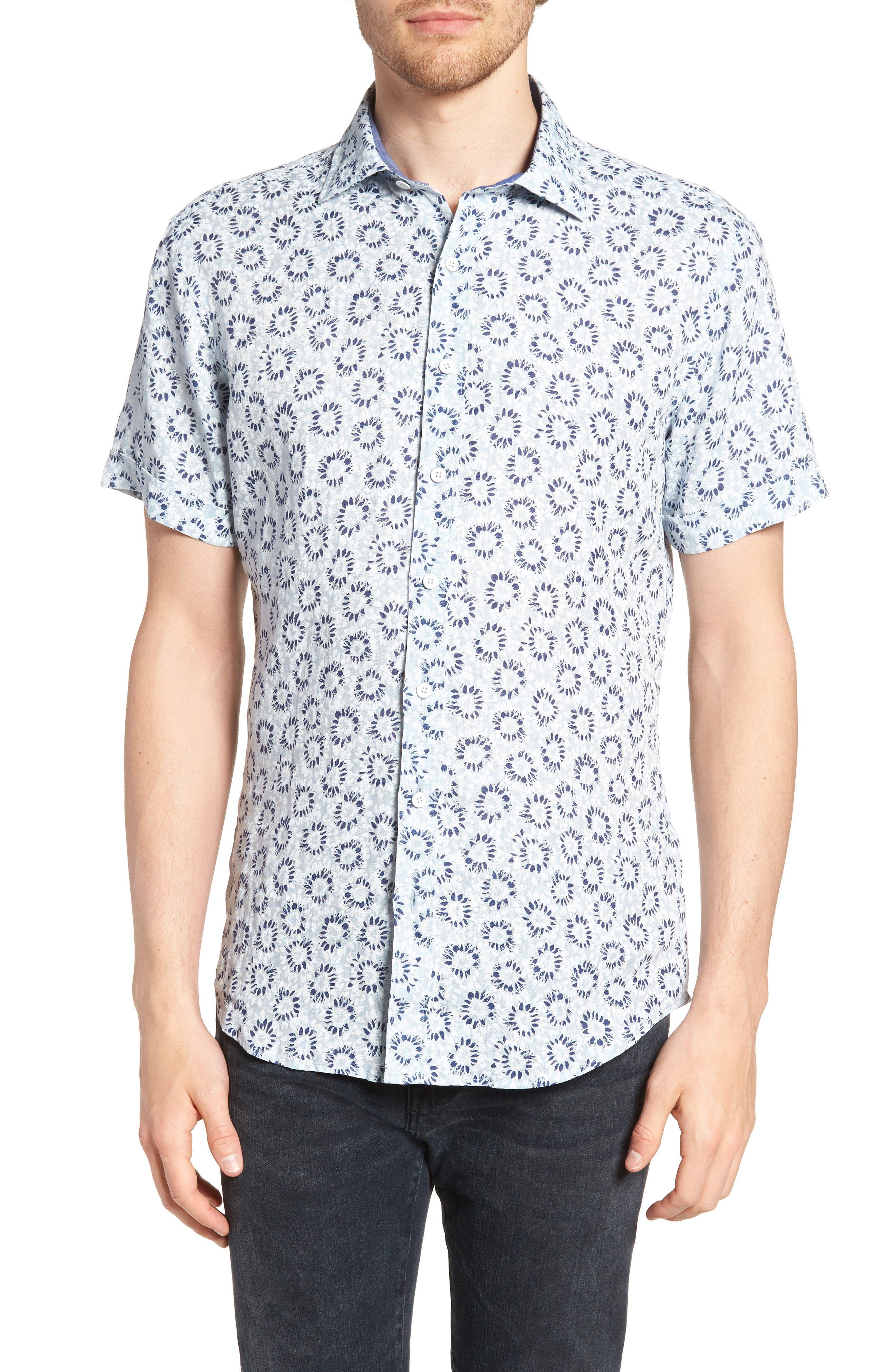 Alford Forest Floral Linen Sport Shirt,                         Main,                         color, SKY