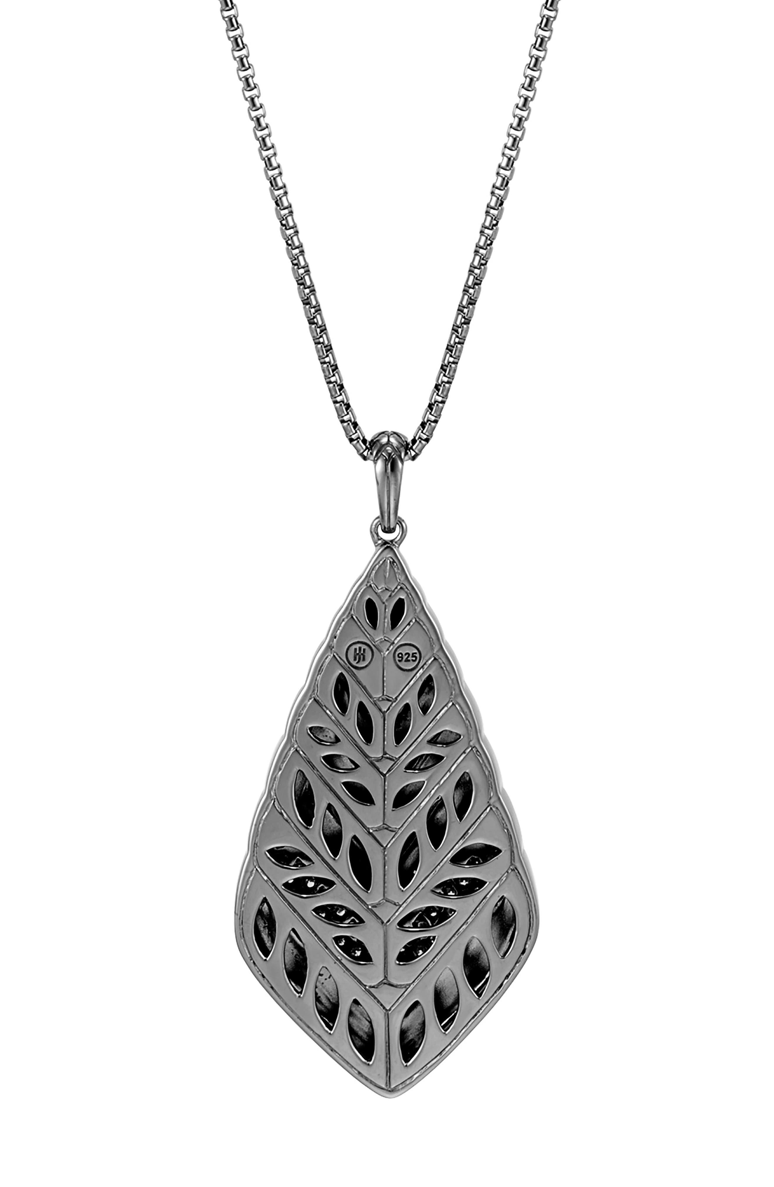 Modern Chain Long Diamond Pavé Pendant Necklace,                             Alternate thumbnail 3, color,                             Black Rhodium/ Sterling Silver