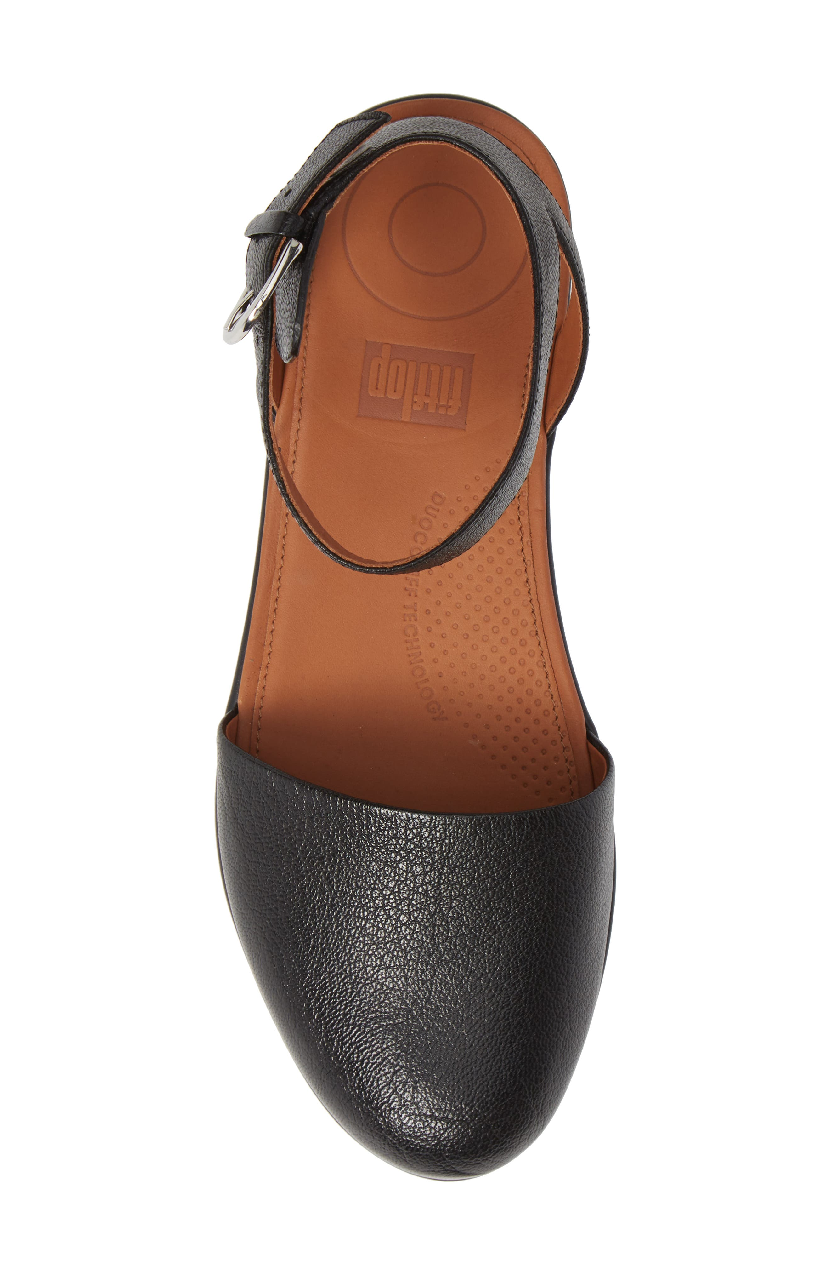 Cova Ankle Strap Sandal,                             Alternate thumbnail 5, color,                             BLACK LEATHER