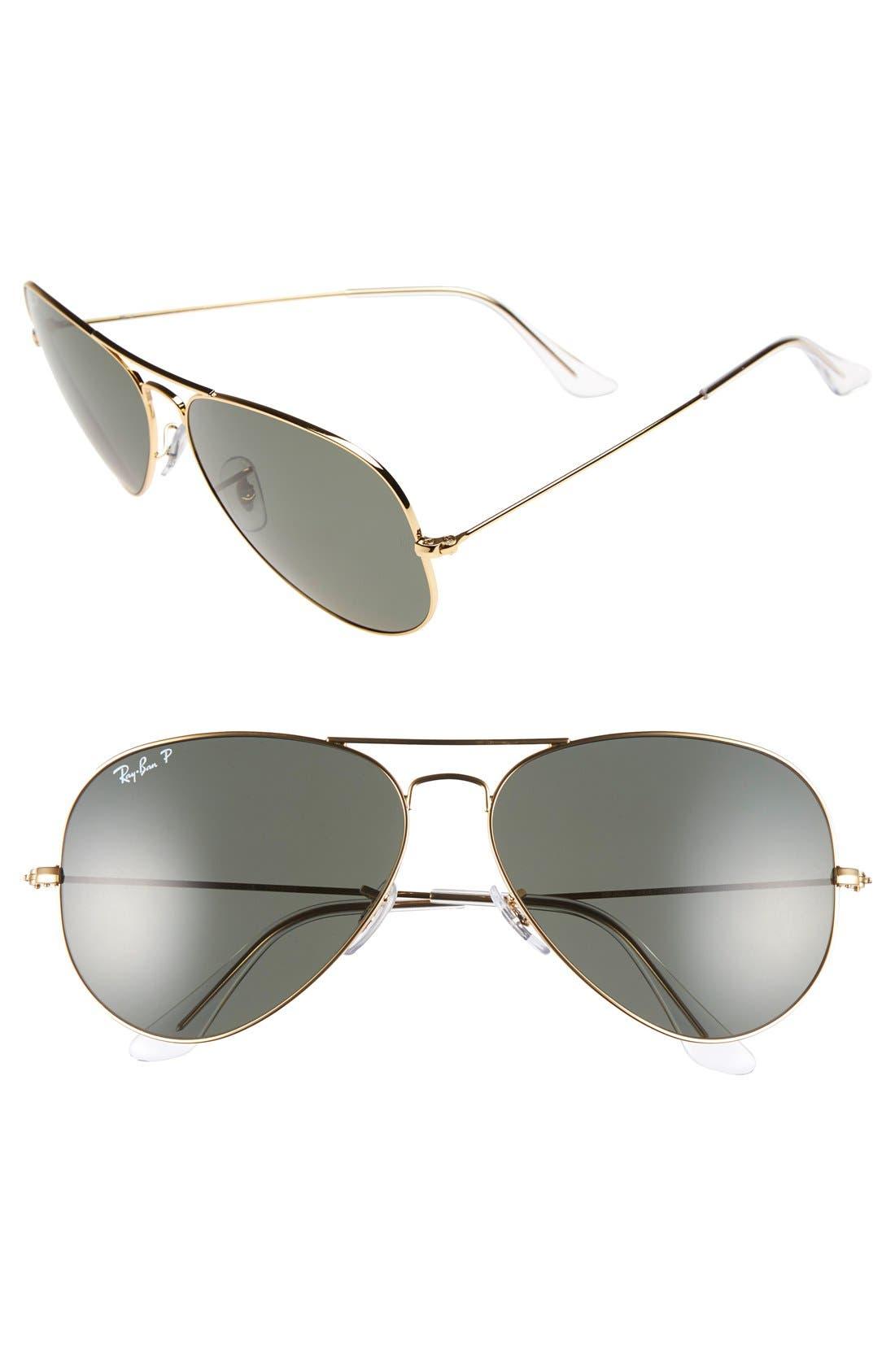 RAY-BAN 'Aviator' Polarized 62mm Sunglasses, Main, color, GOLD