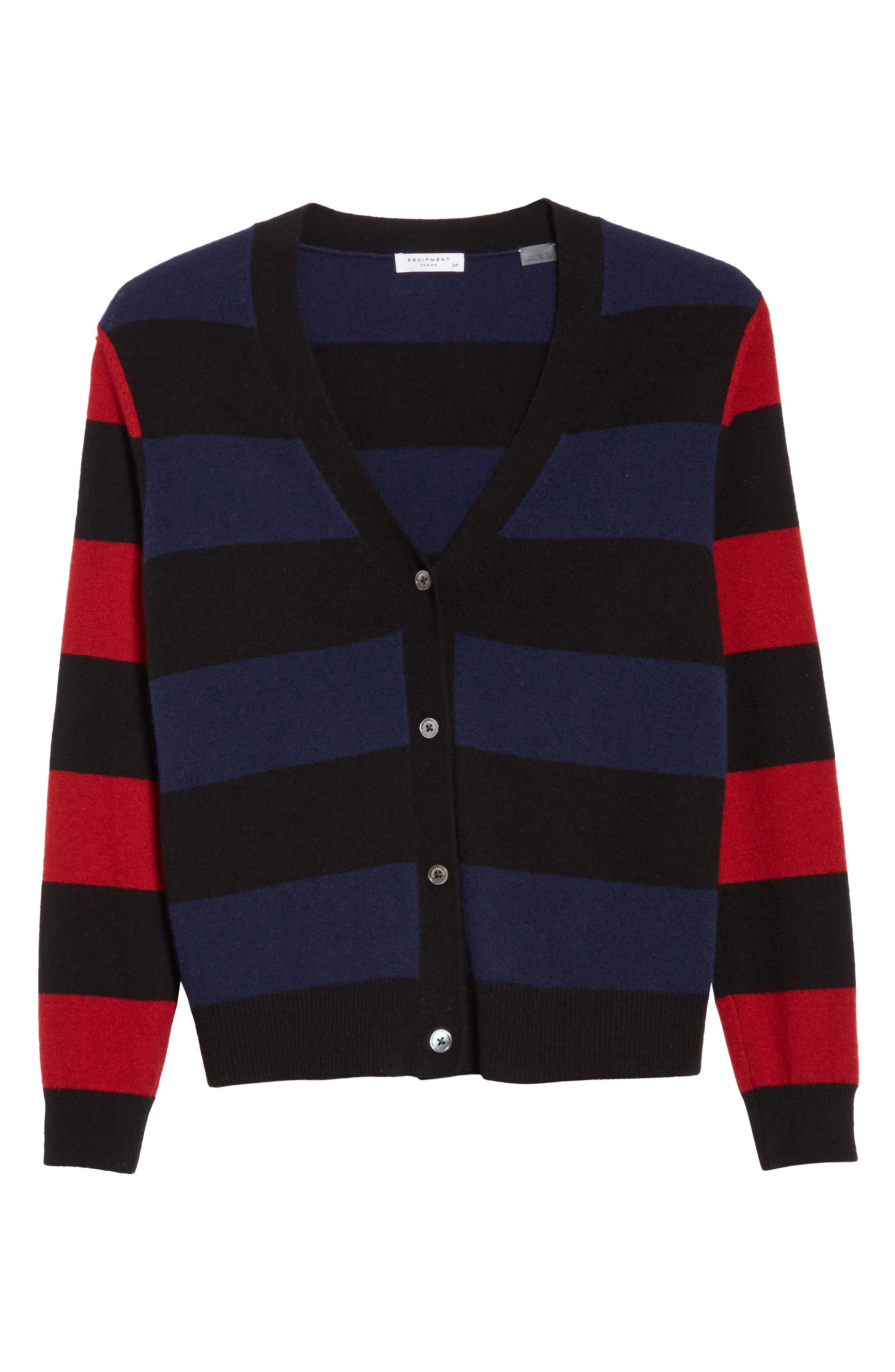 Shelly Stripe Cashmere Cardigan,                             Alternate thumbnail 6, color,                             001