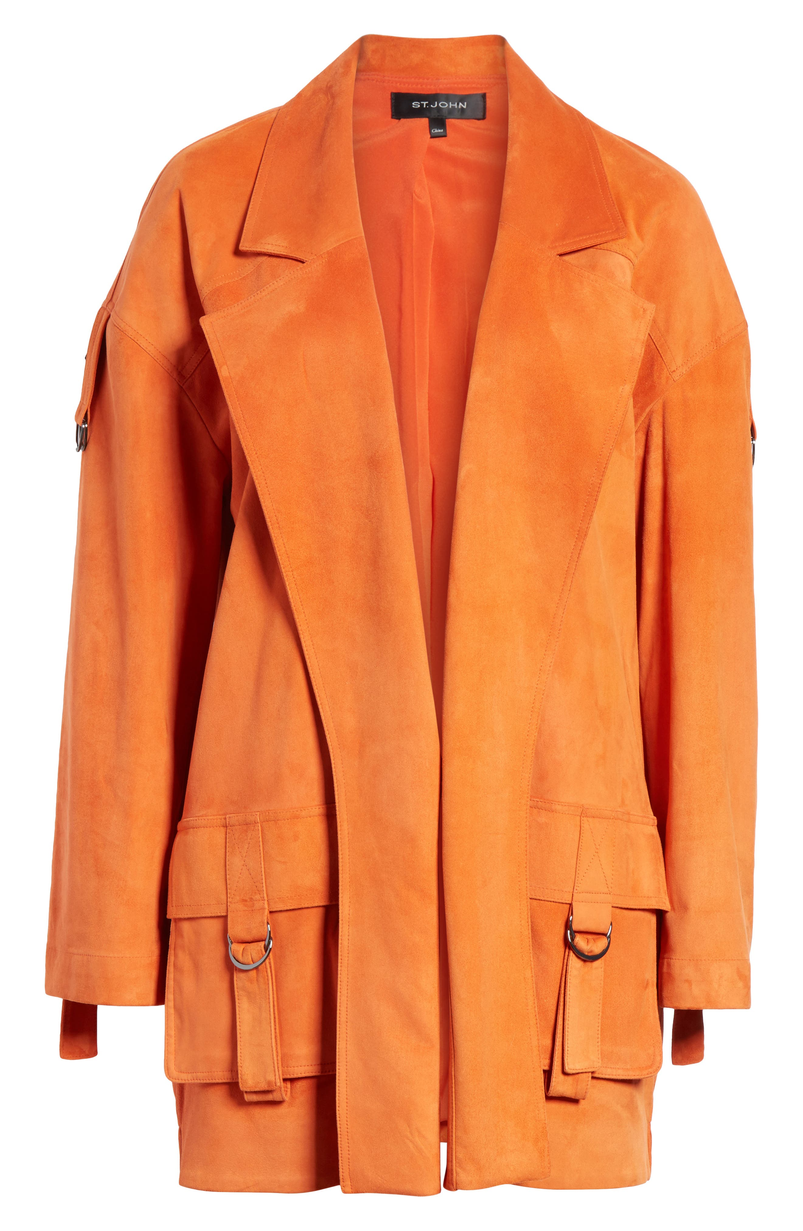 Suede Slouch Jacket,                             Alternate thumbnail 6, color,                             SOFT SIENNA
