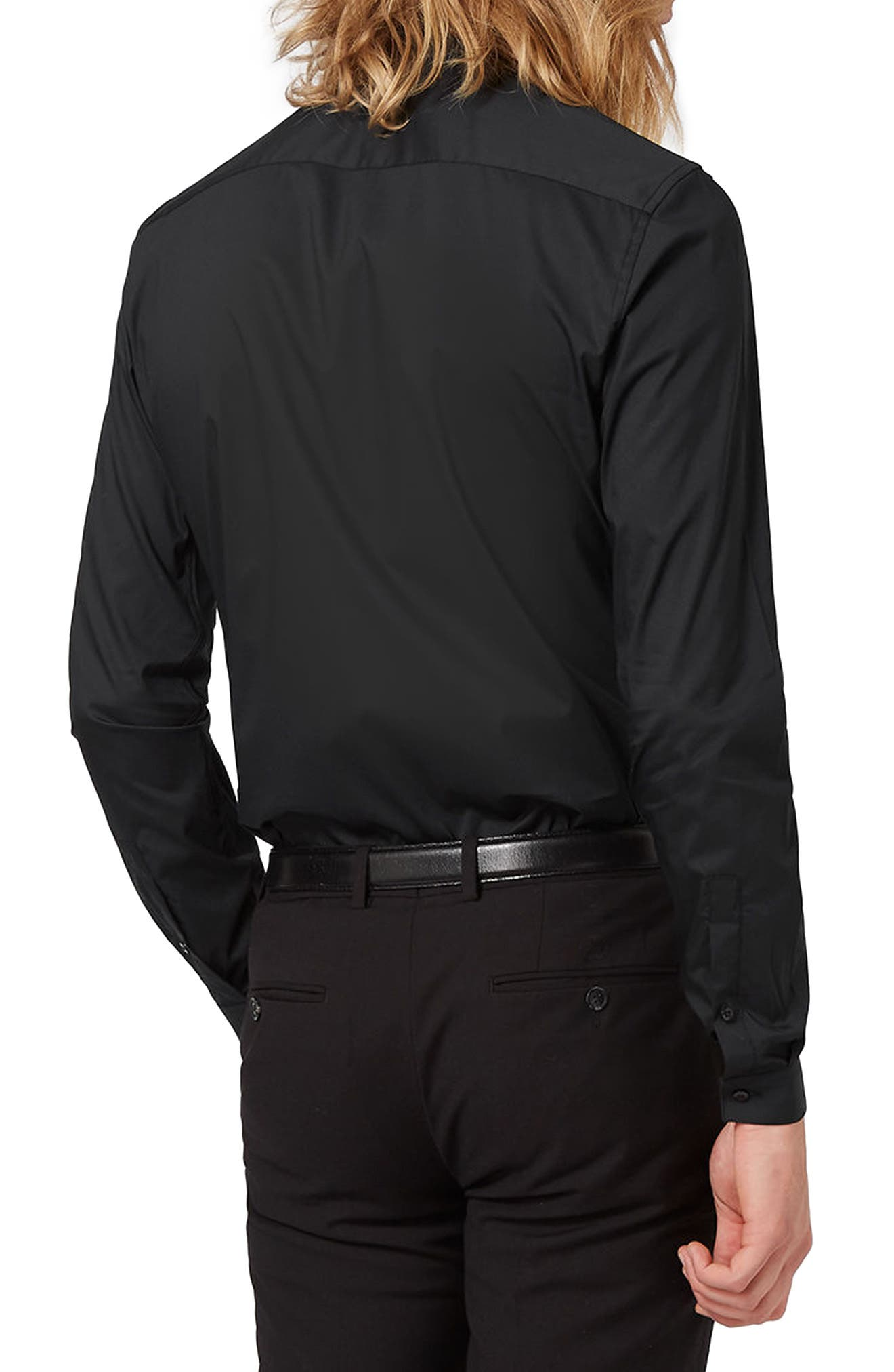 Skinny Fit Stretch Dress Shirt,                             Alternate thumbnail 3, color,                             001