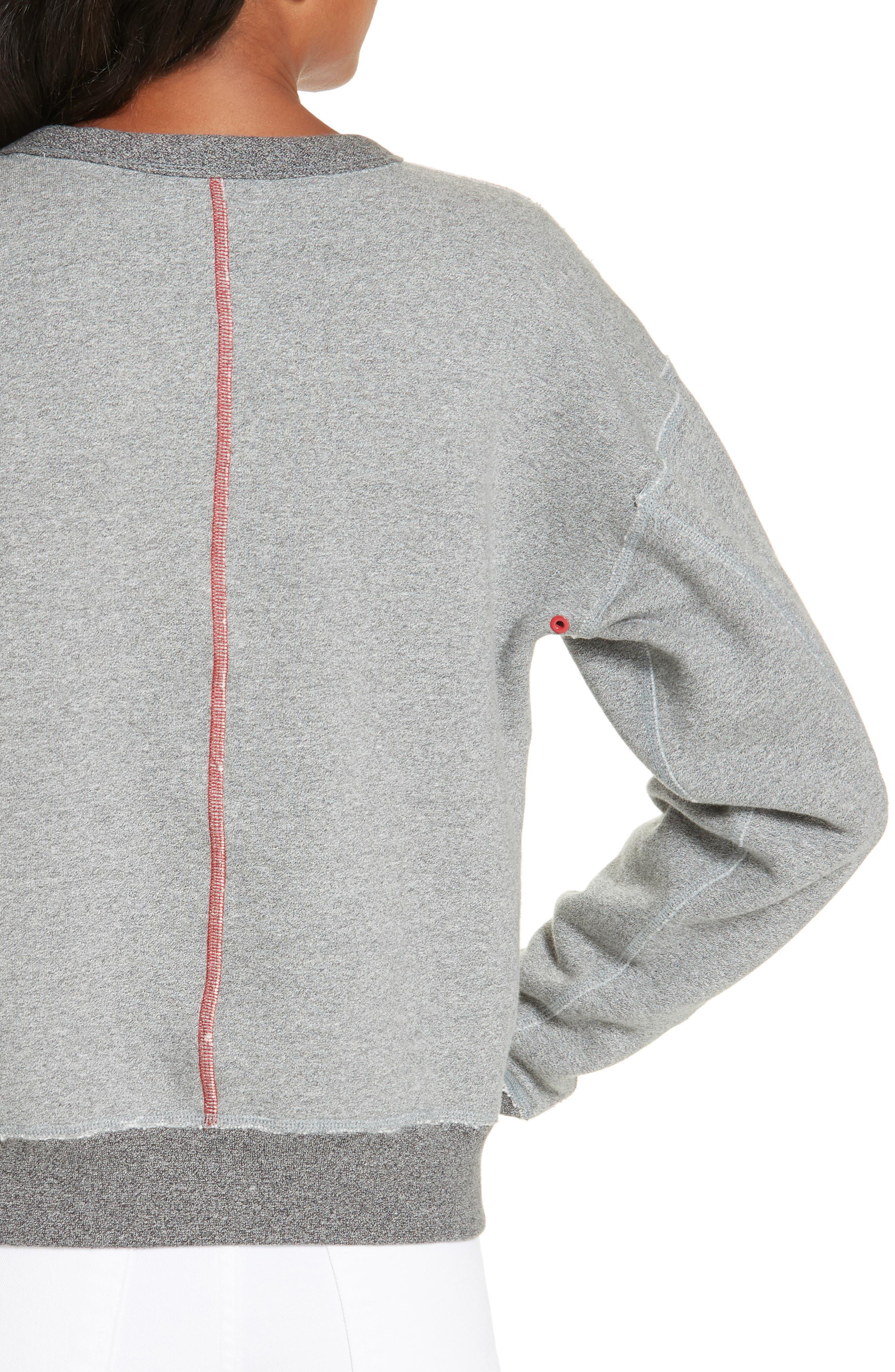 rag & bone Best Sweatshirt,                             Alternate thumbnail 4, color,                             HEATHER GREY