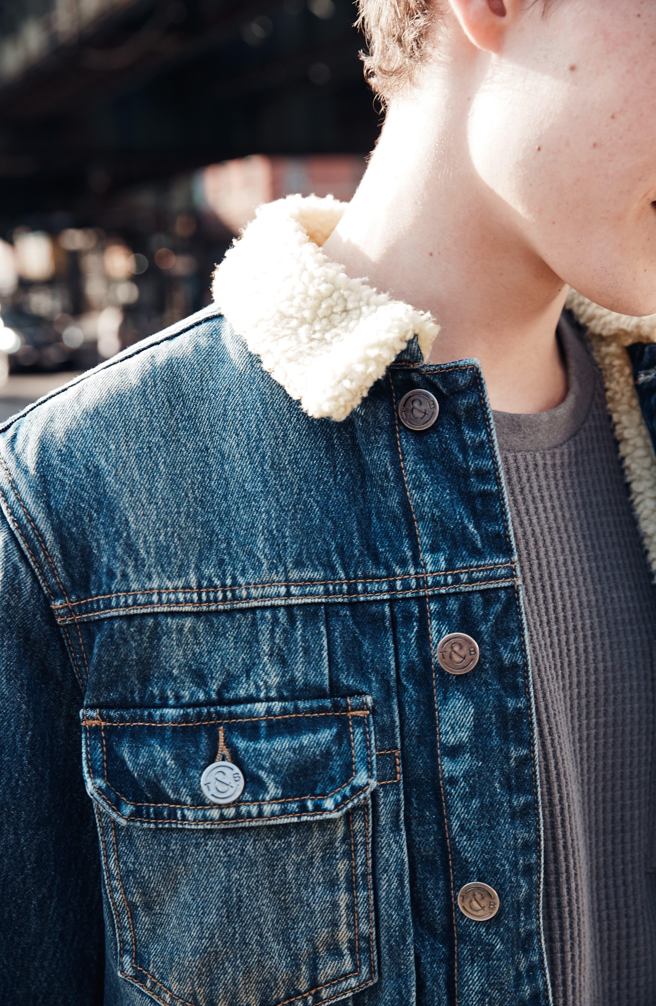 Denim Jacket with Faux Shearling Collar,                             Alternate thumbnail 10, color,                             BLUE MEDIUM DENIM