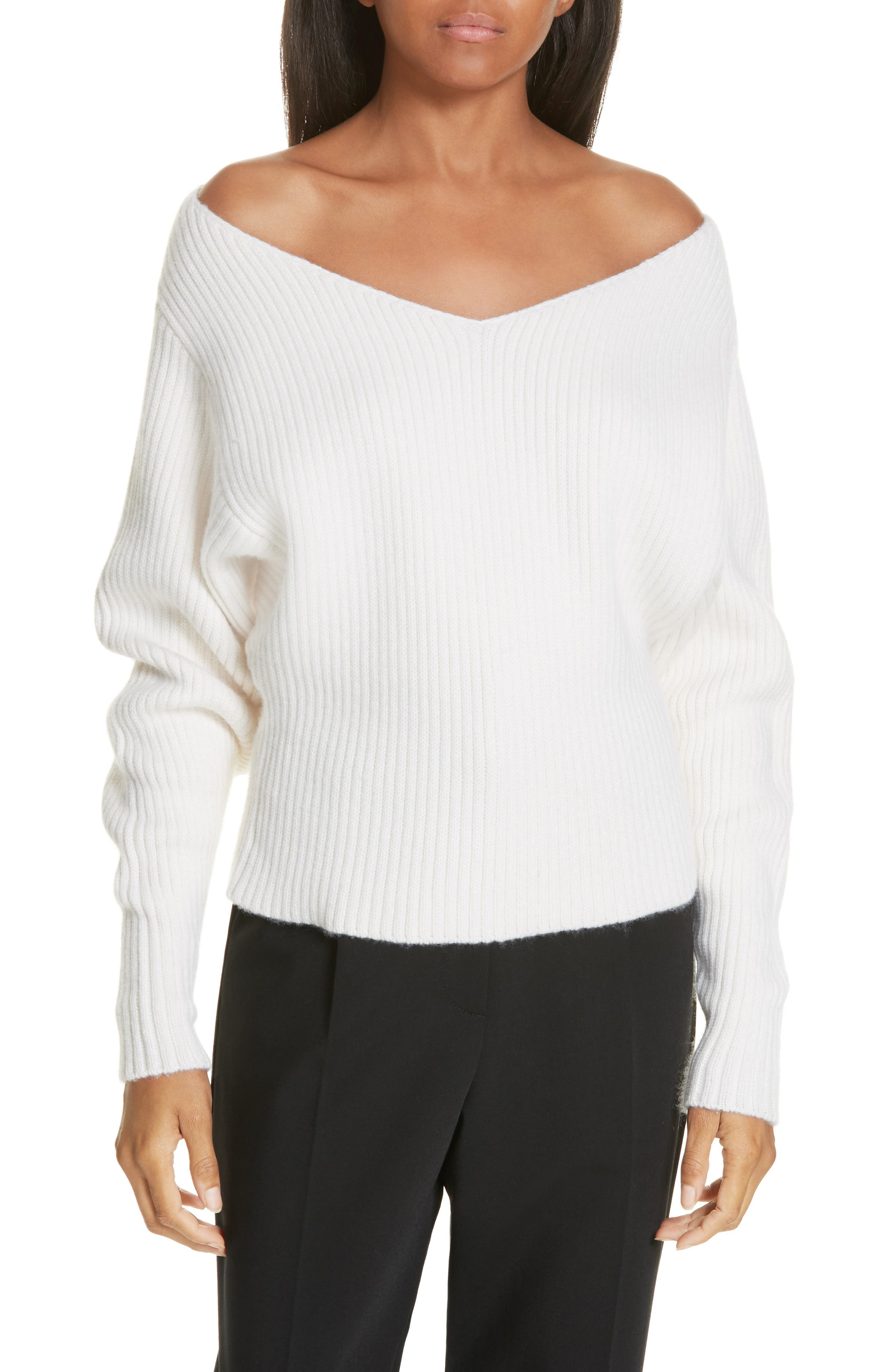 Off the Shoulder Wool & Cashmere Sweater,                             Main thumbnail 1, color,                             CREAM